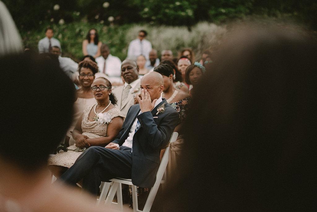 Parents at wedding ceremony