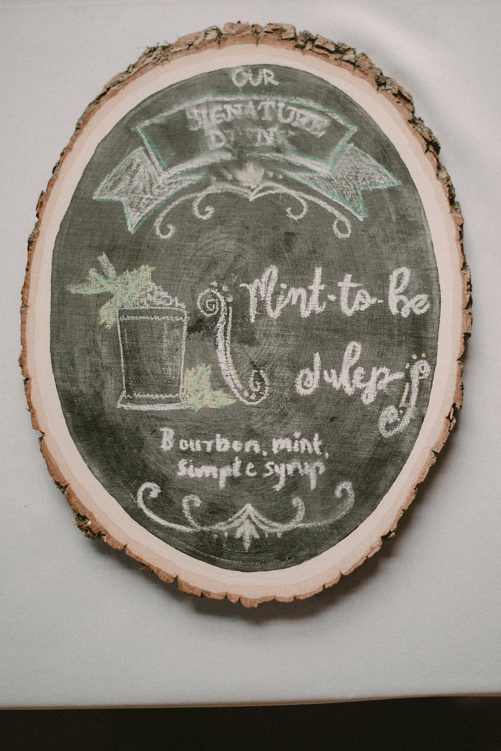Wedding sign for mint juleps