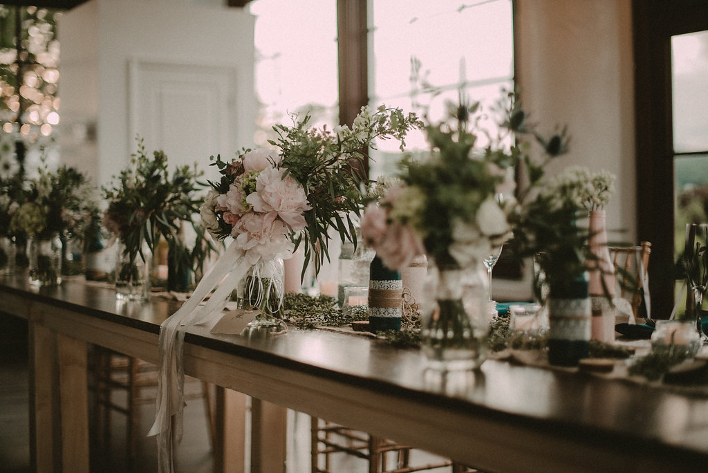 Wedding decor and flowers at rustic wedding
