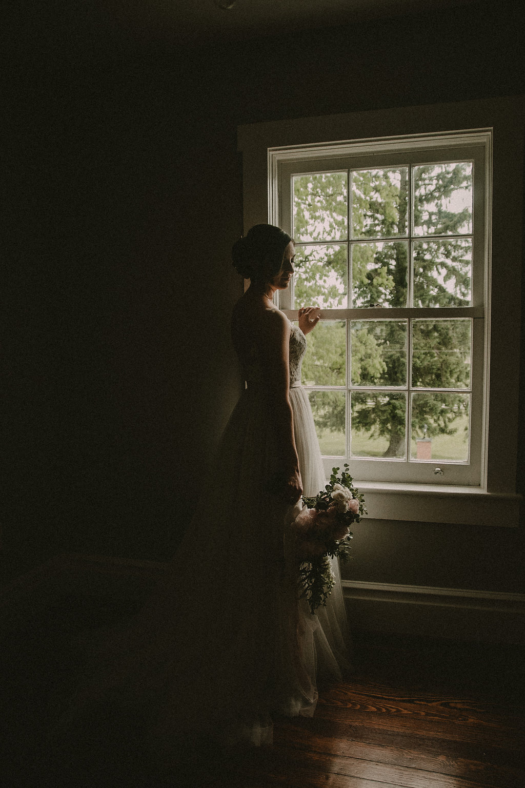 dramatic moody bridal portrait photo
