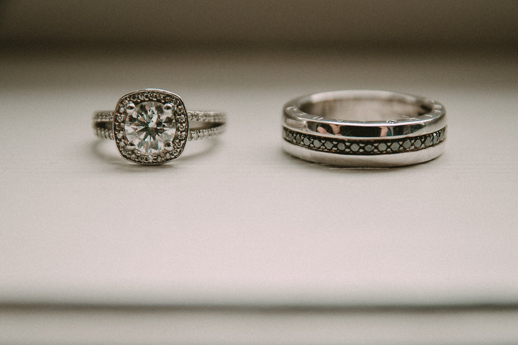 Engagement rings with blurry background