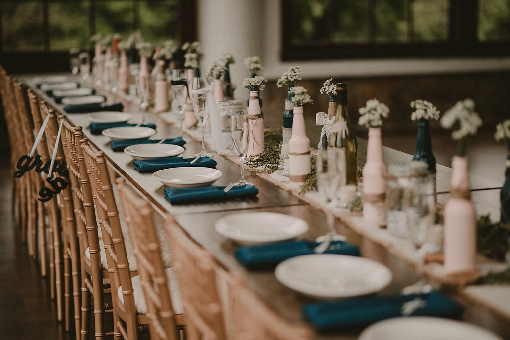 Table setting at derby themed wedding