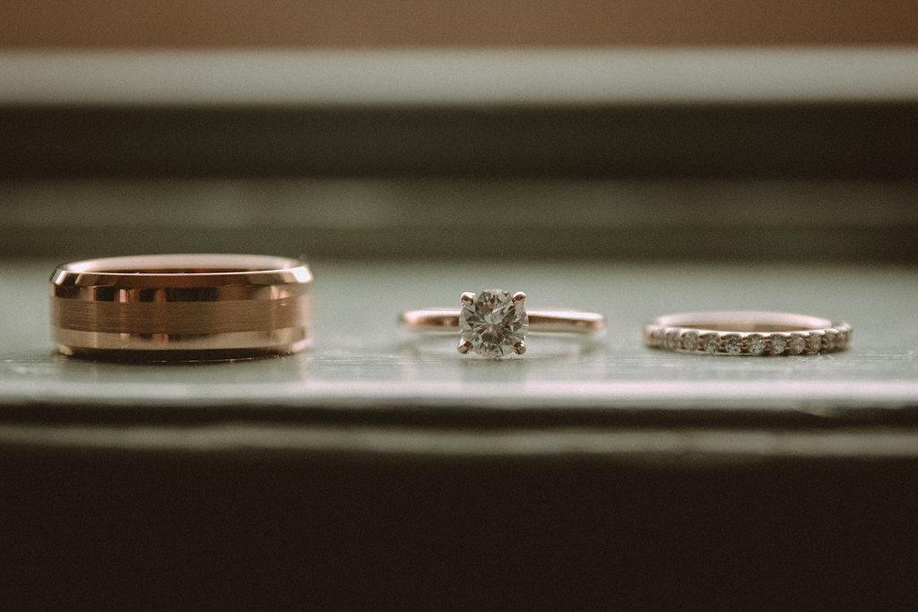 Wedding rings on a window sill