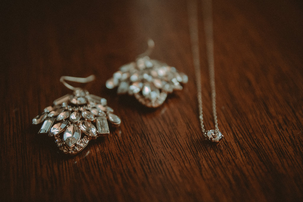 diamond earrings and necklace
