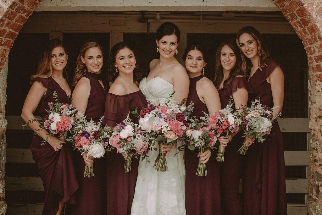 Bride and bridesmaids before wedding