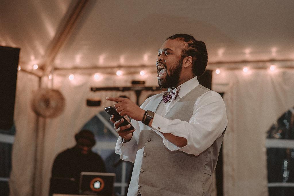 groomsmen making speech at wedding