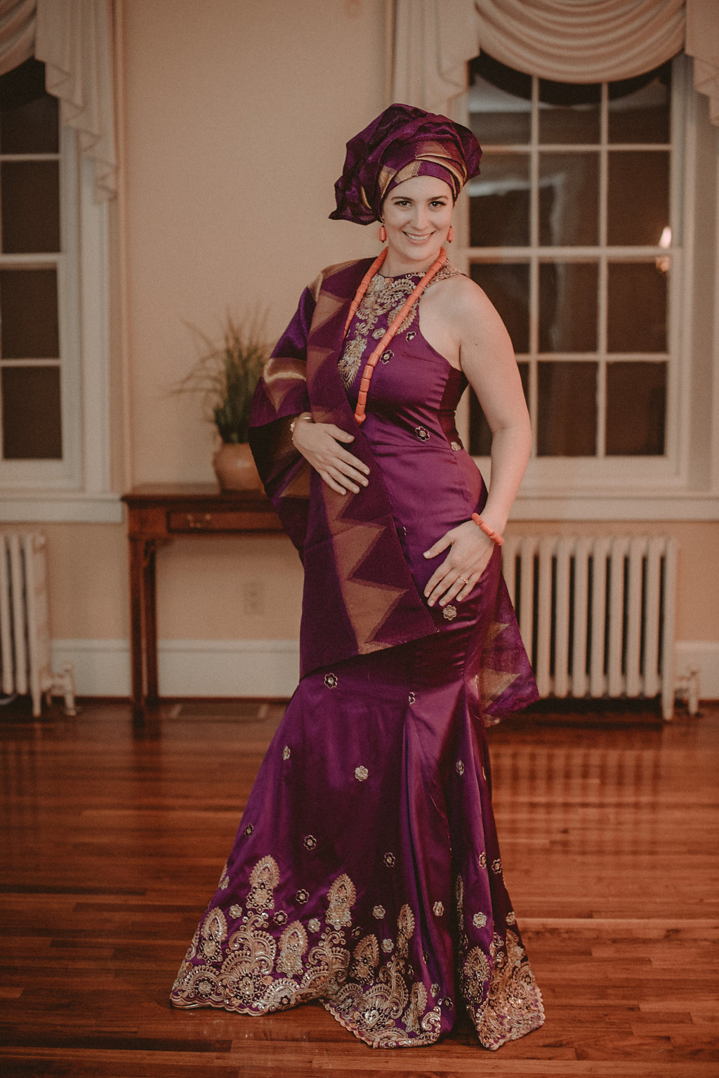 Bride in traditional clothing at reception