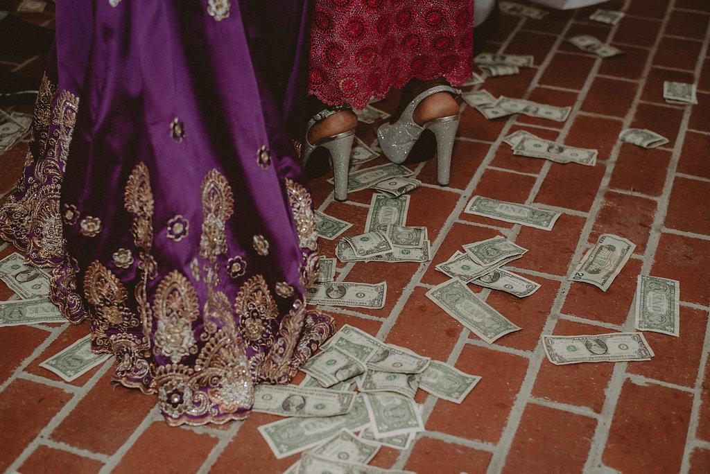 Money on the floor during wedding dance