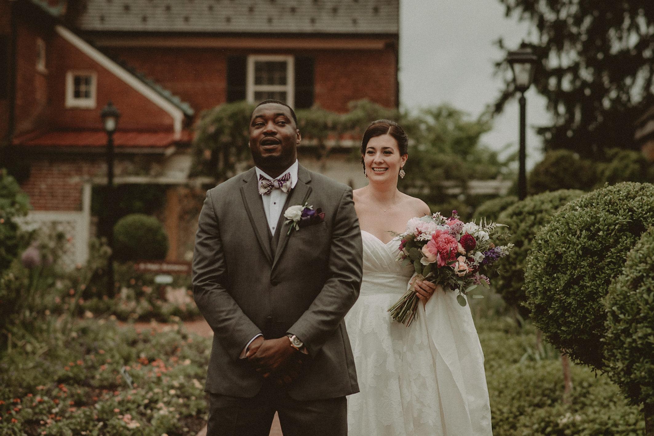 Bride and groom first look before wedding