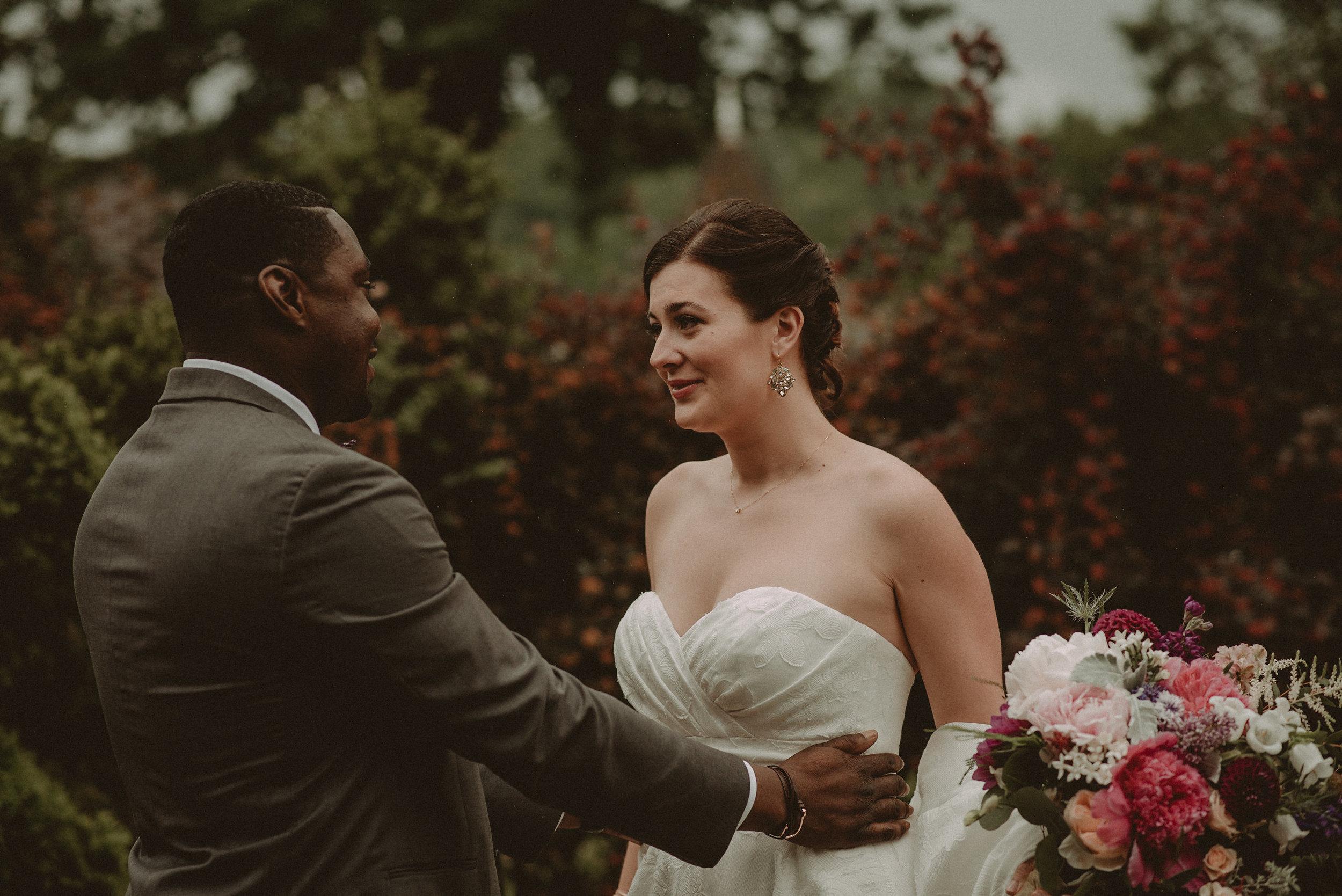 Groom and bride having first look