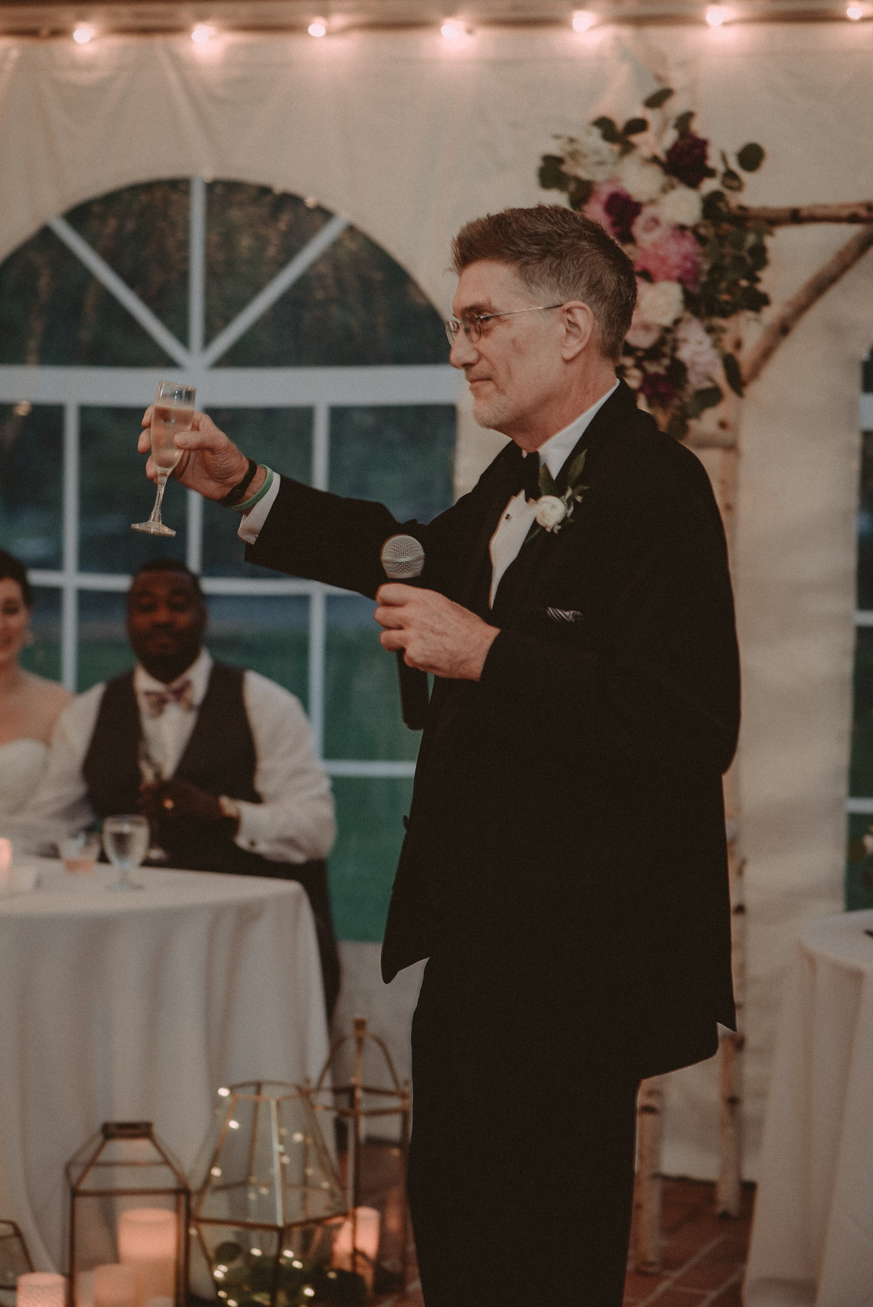 Father making speech at wedding