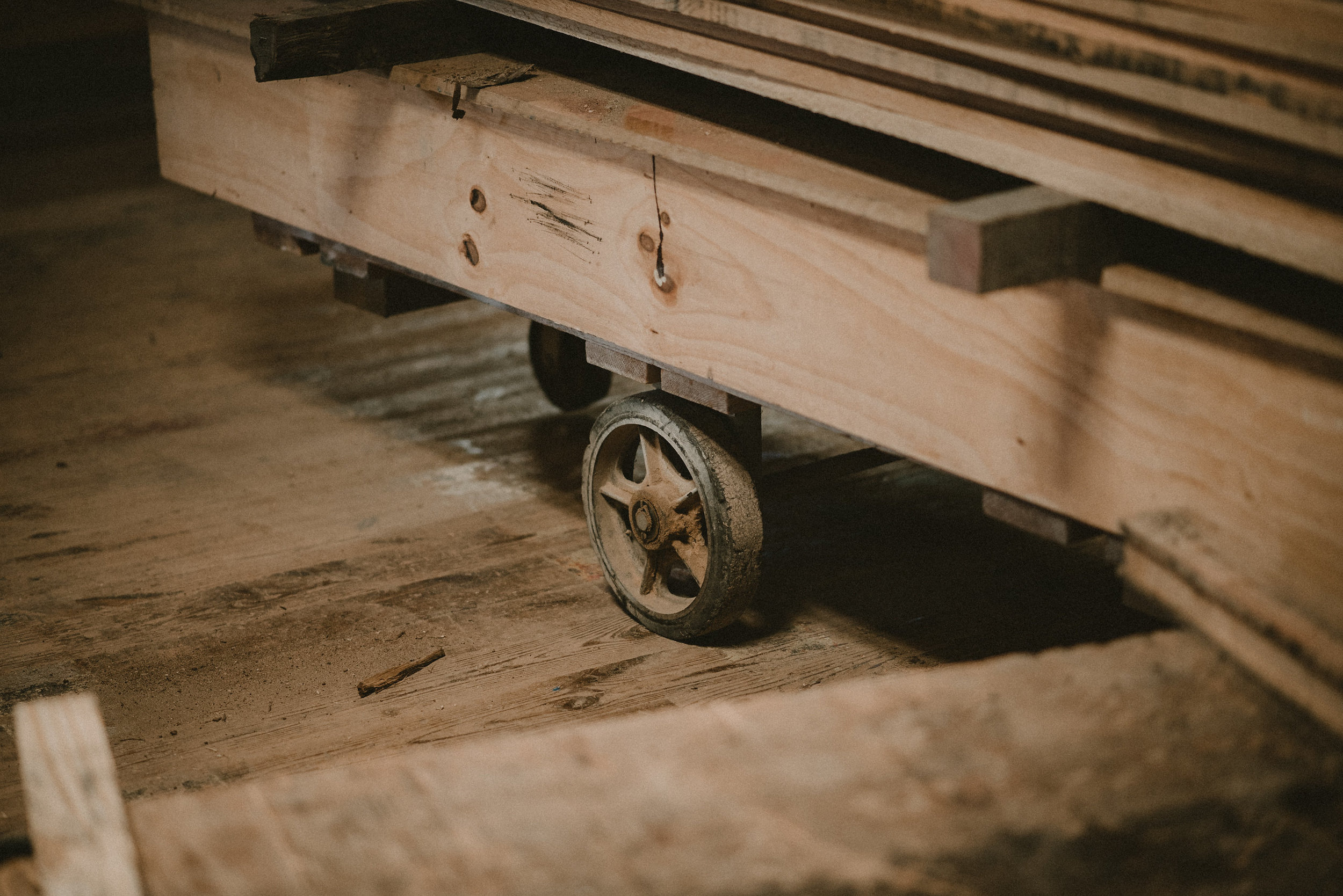 Wood on a vintage cart