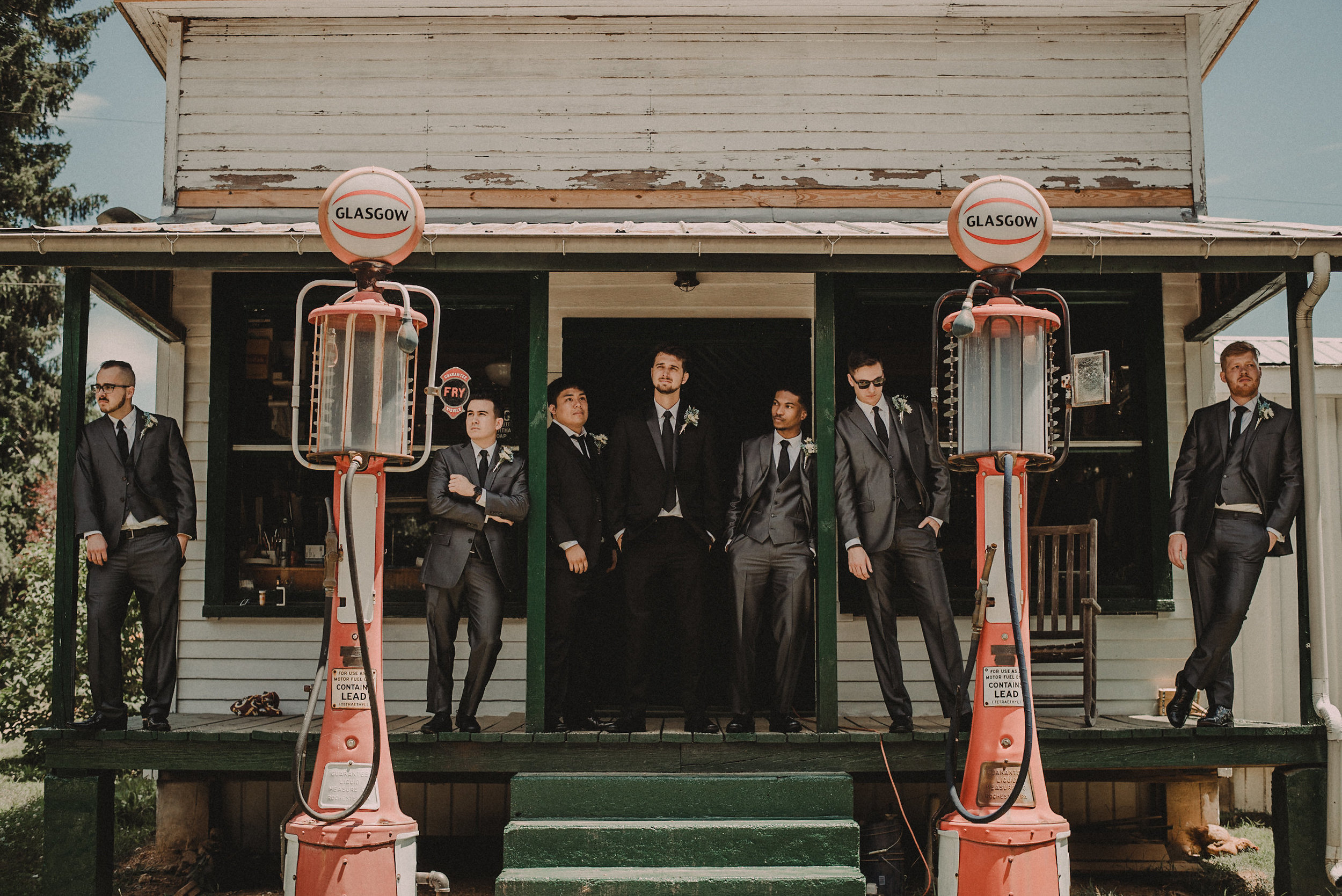 Groomsmen on front porch