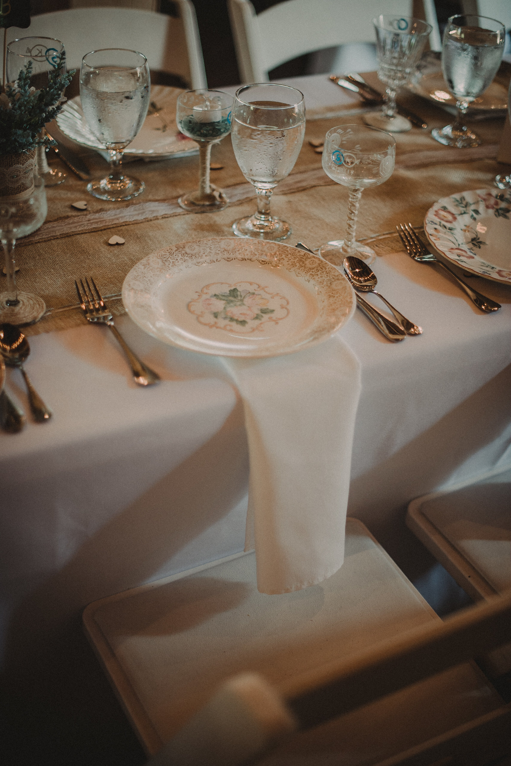 Place setting at wedding reception