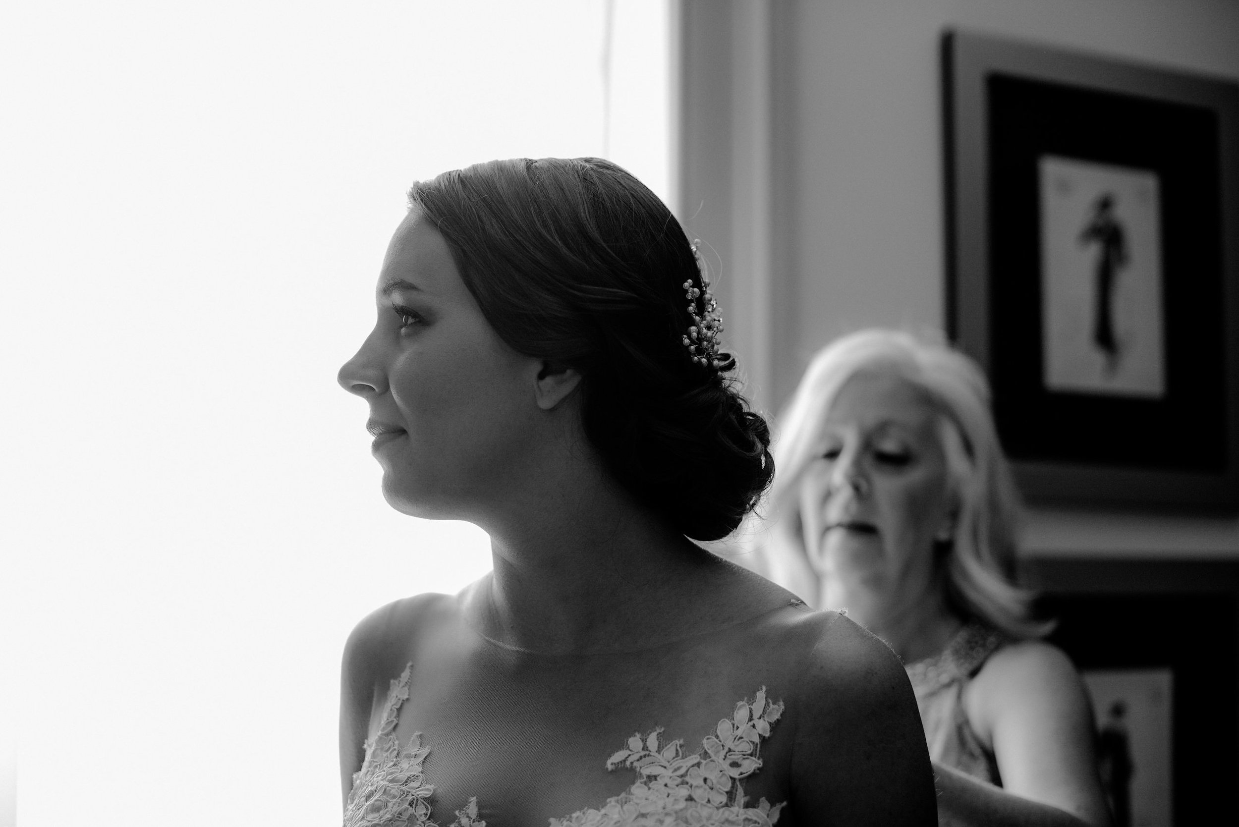 Bride and mother in black and white