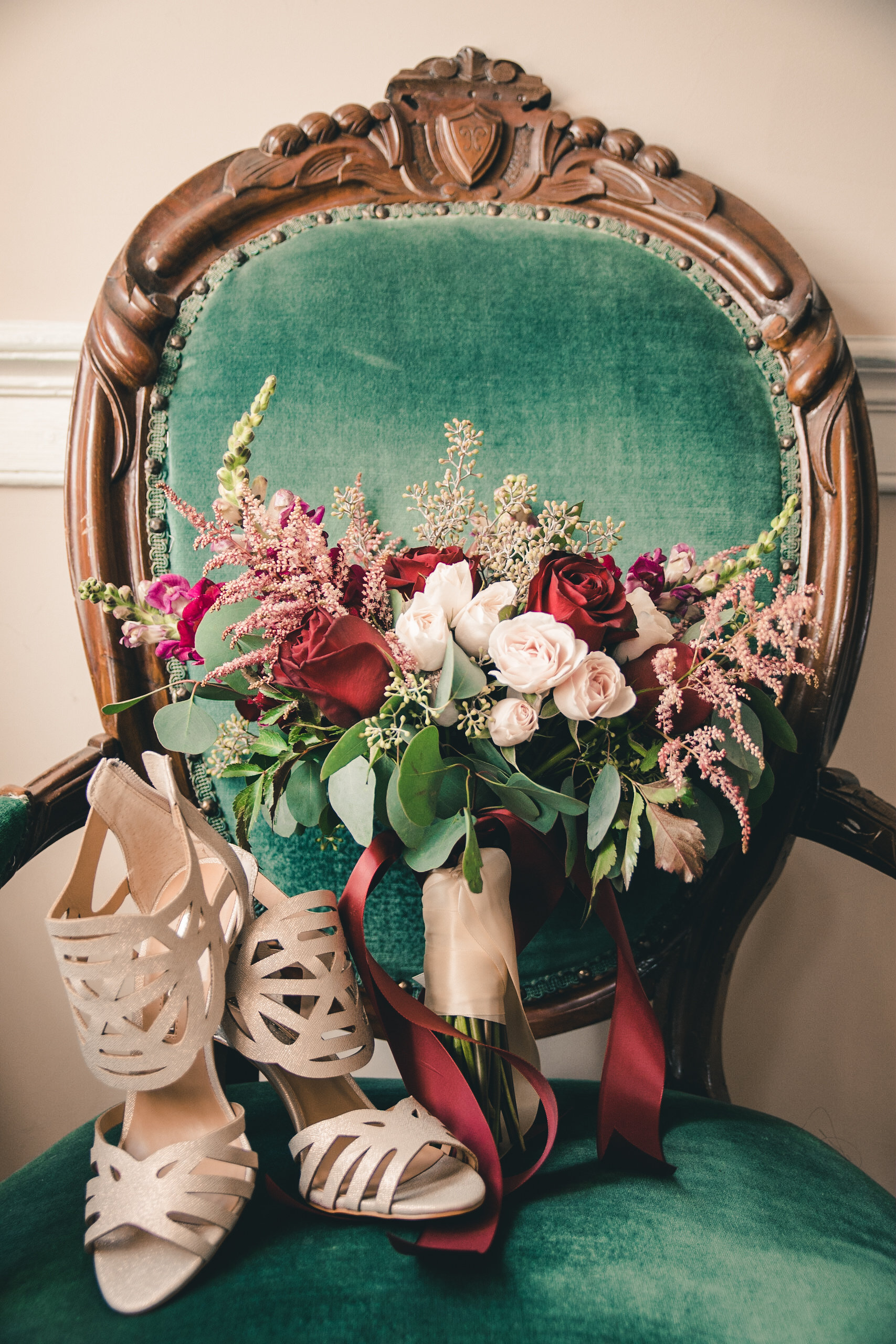 Bridal bouquet in green chair