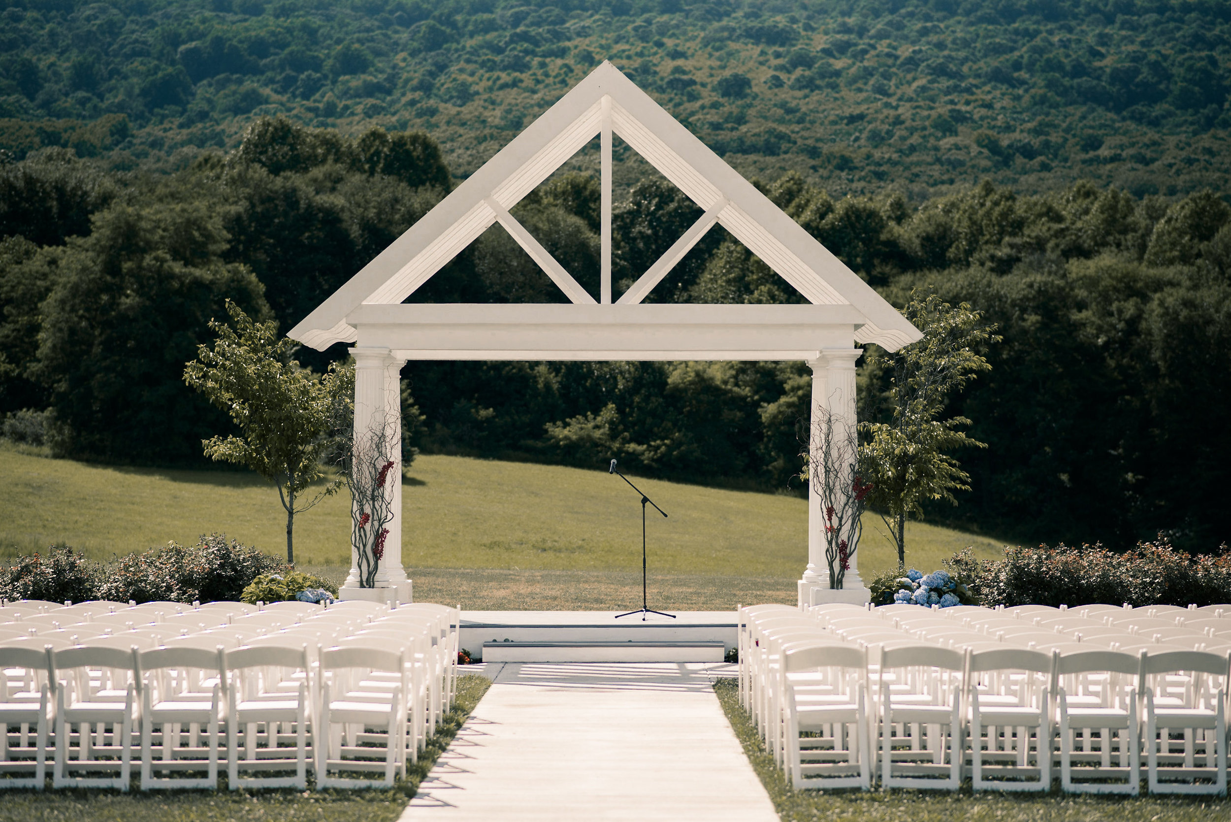 Ceremony space with mountain behind