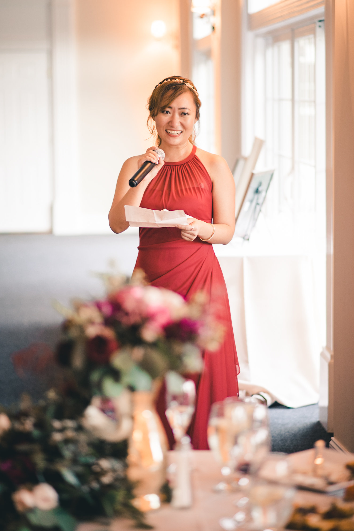 Bridesmaid giving toast