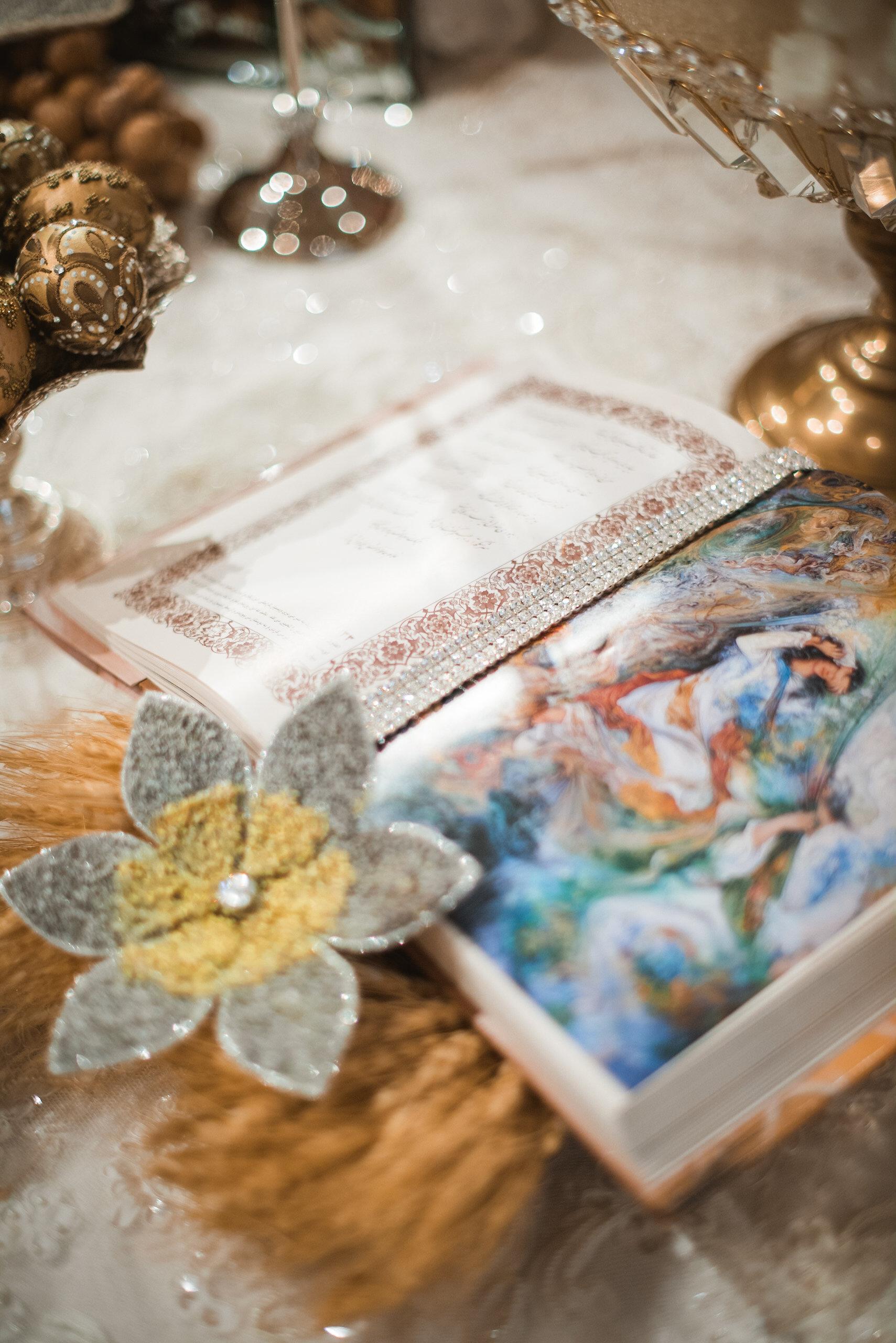 Open book on wedding altar