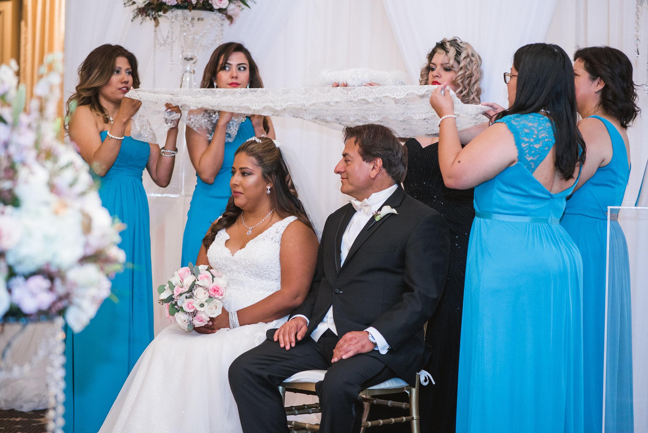 Wedding ceremony with bridesmaids