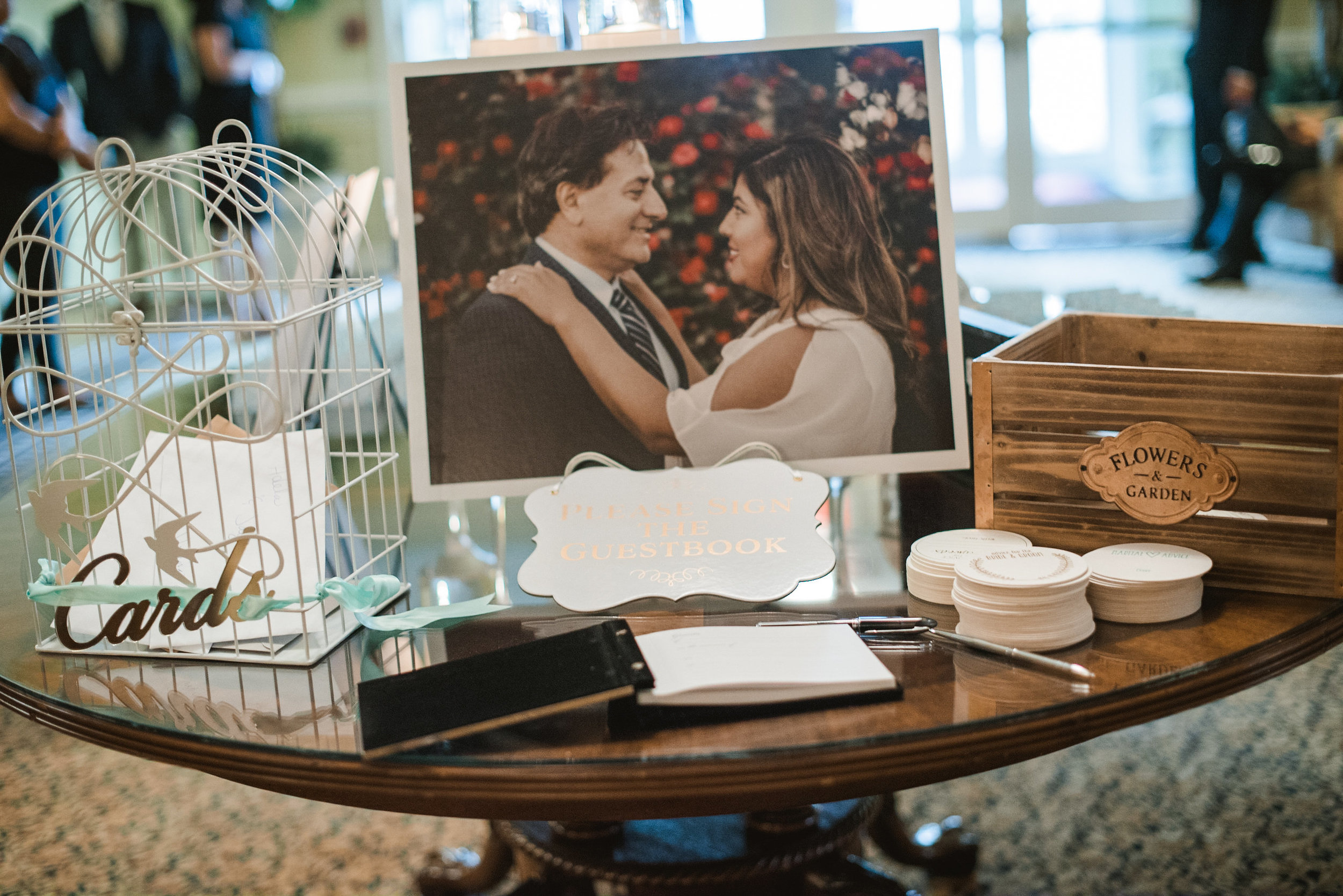 Card table at wedding reception