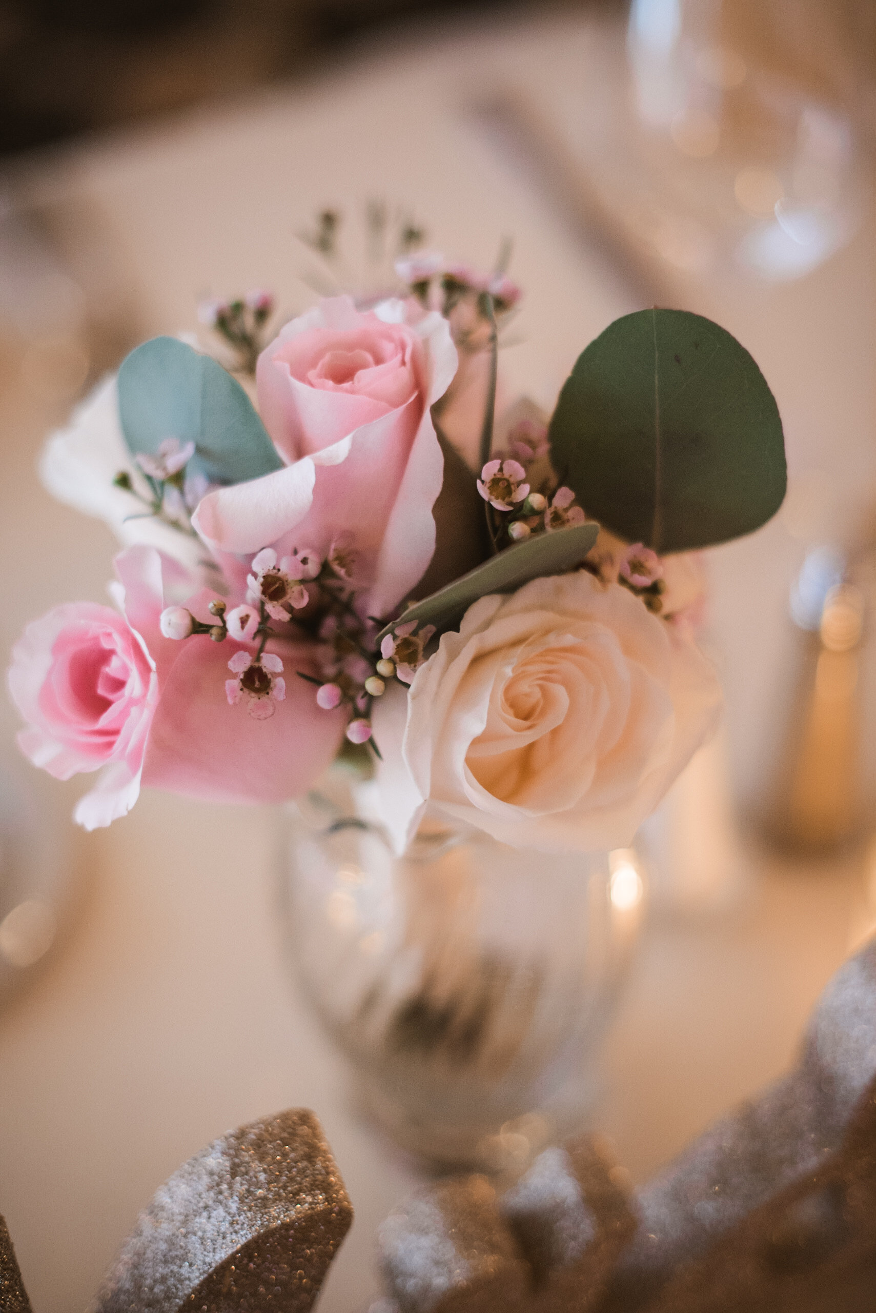 Roses on table at reception