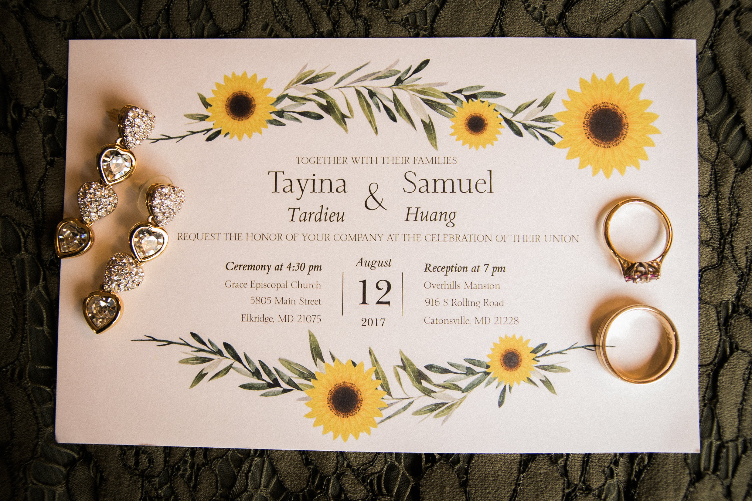 Wedding invitation and jewelry