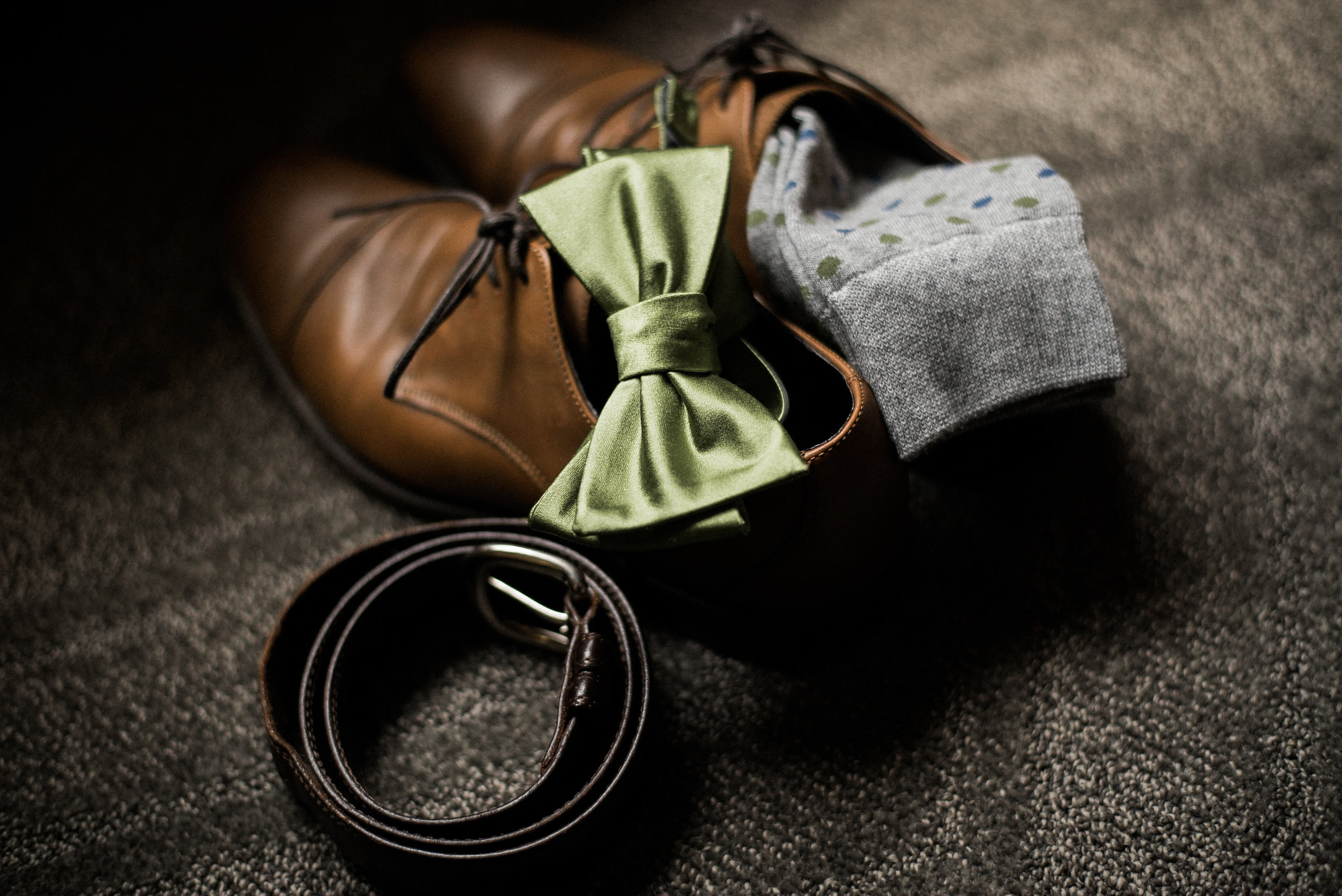 Groom's bowtie and shoes for wedding