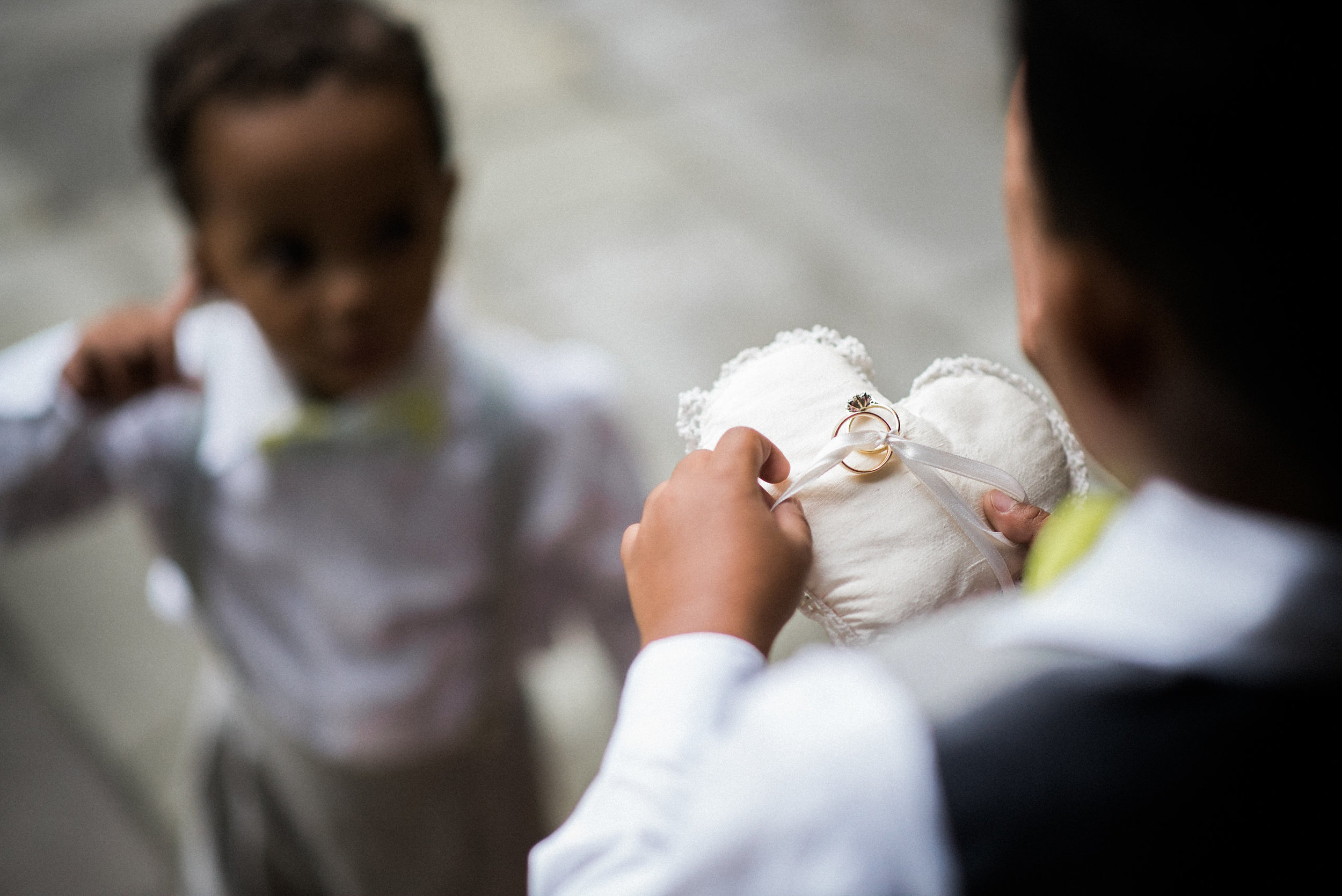 Ring bearer outside of church