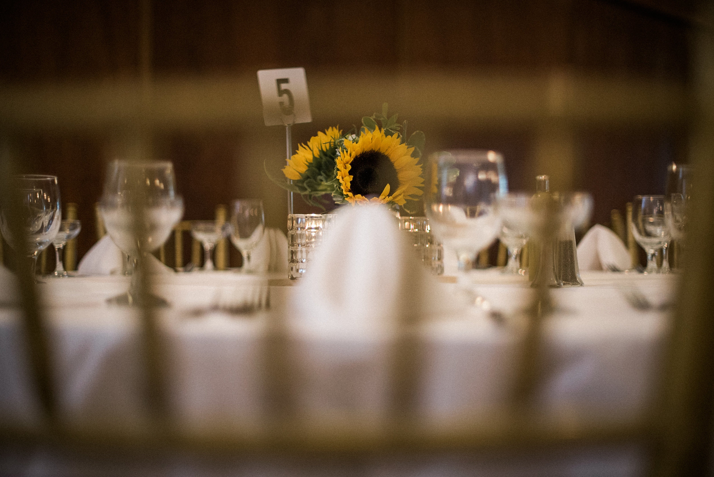 Wedding table settings at reception