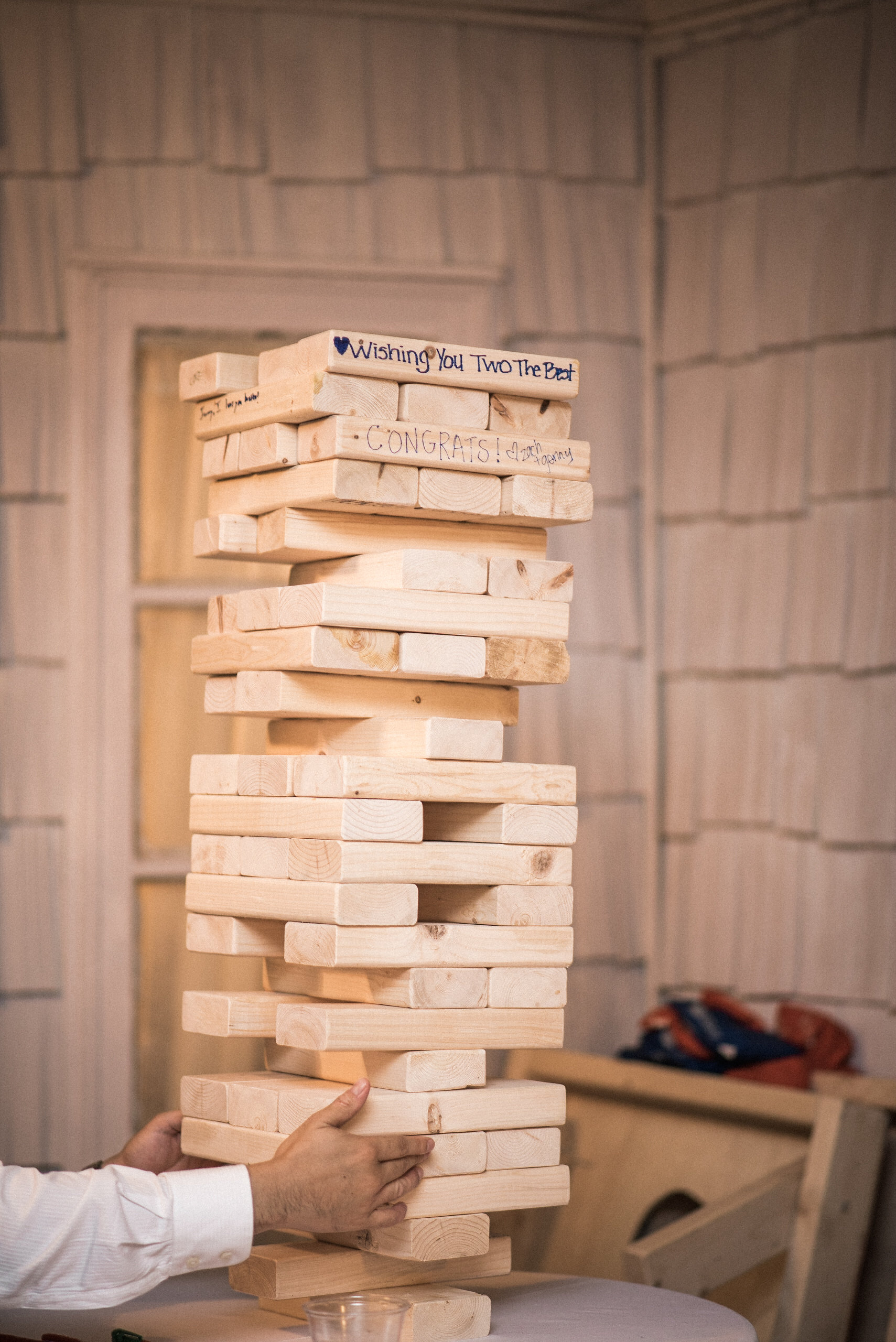Giant Jenga at wedding reception