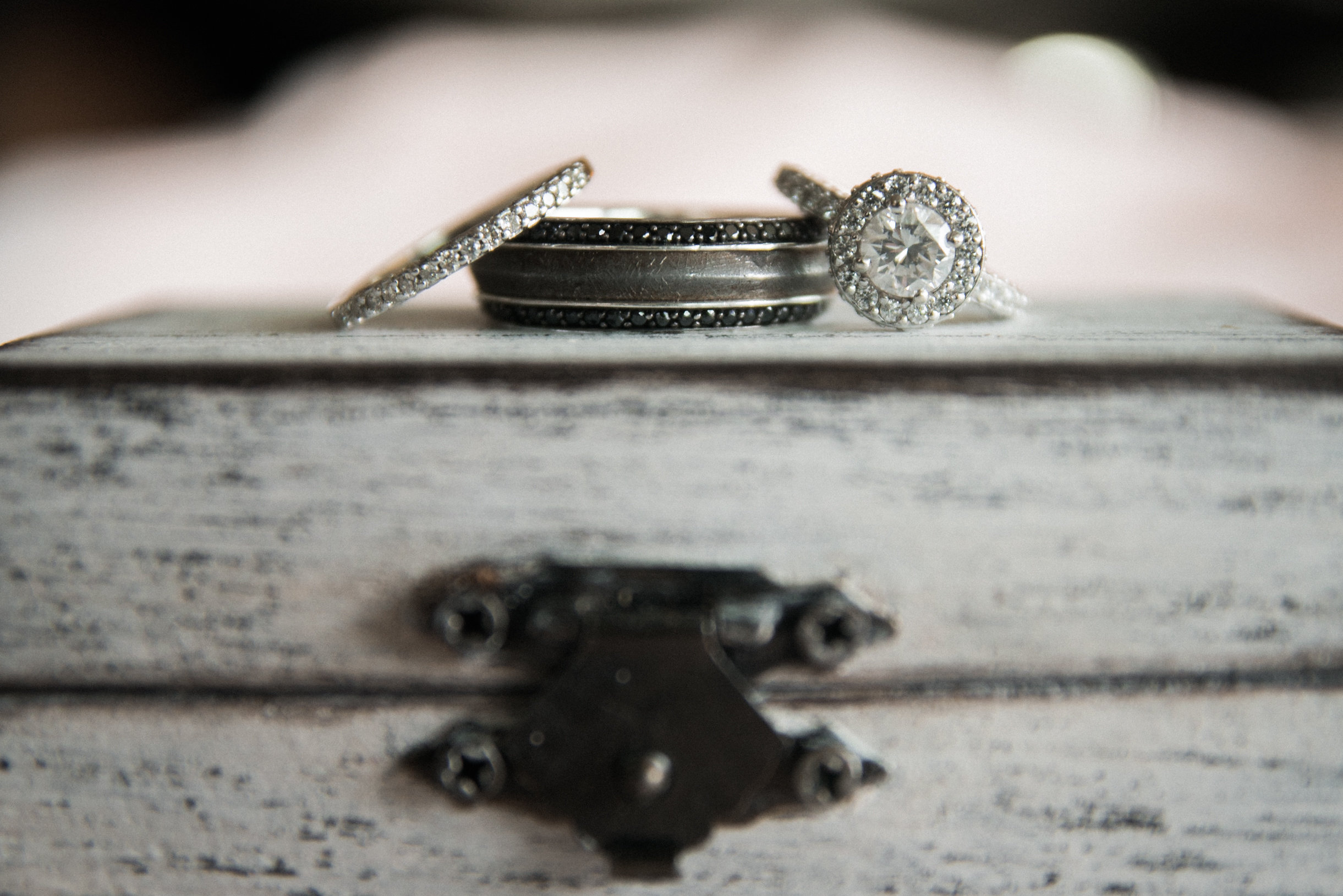 Rings on top of wooden box