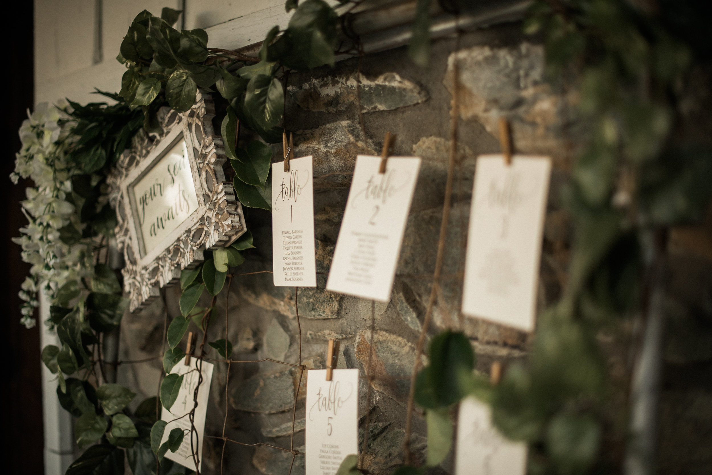Photo frame at rustic wedding