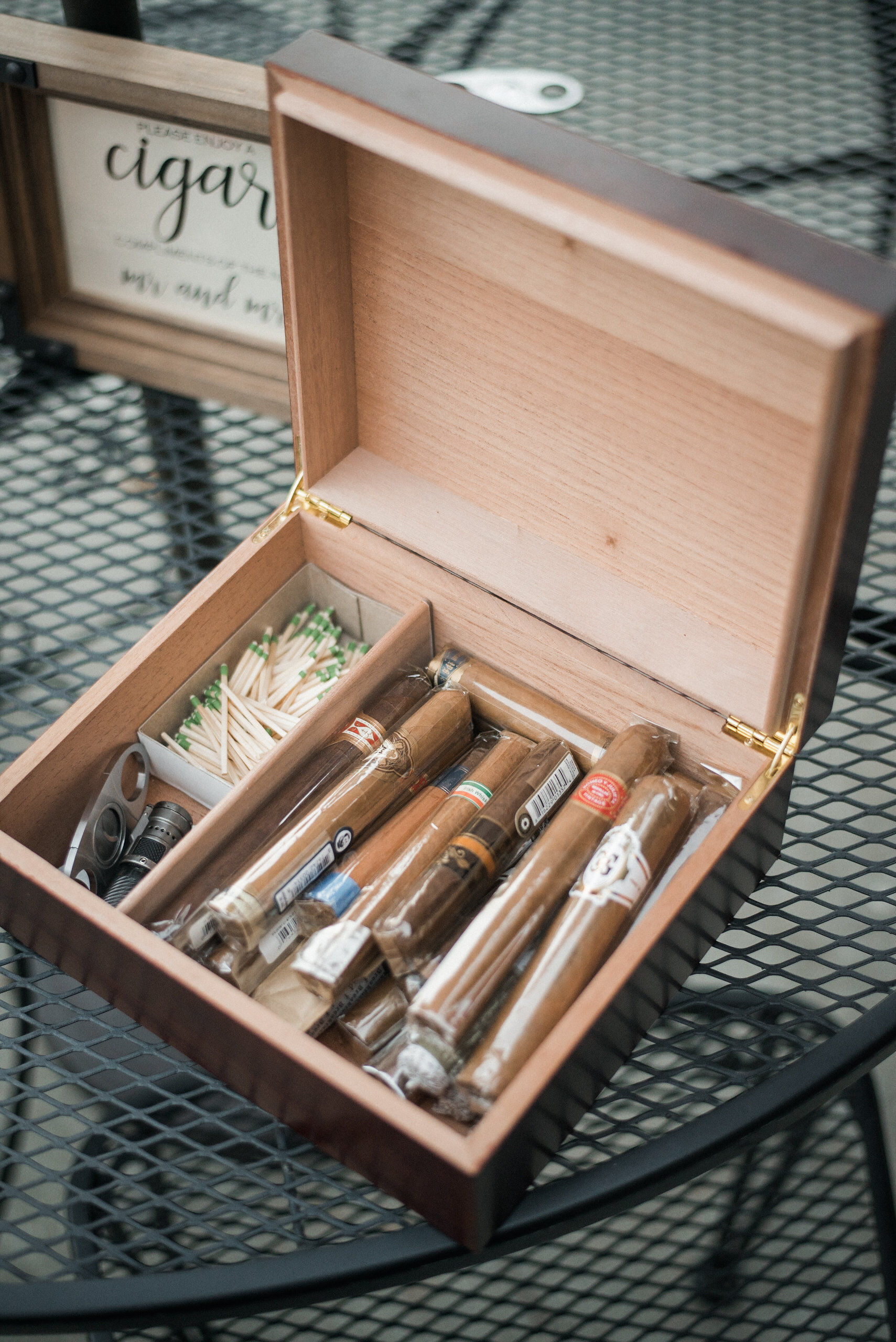 Cigars on table at wedding reception