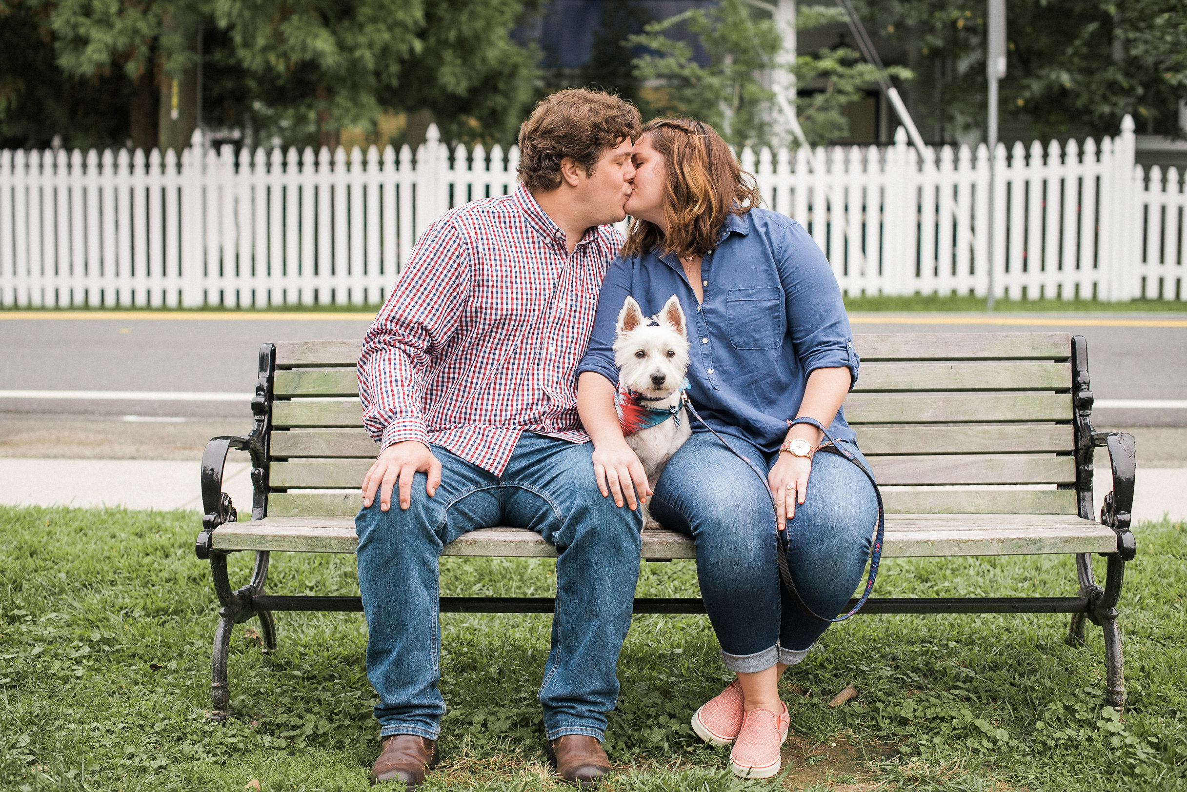 Couple kissing on bench with dog