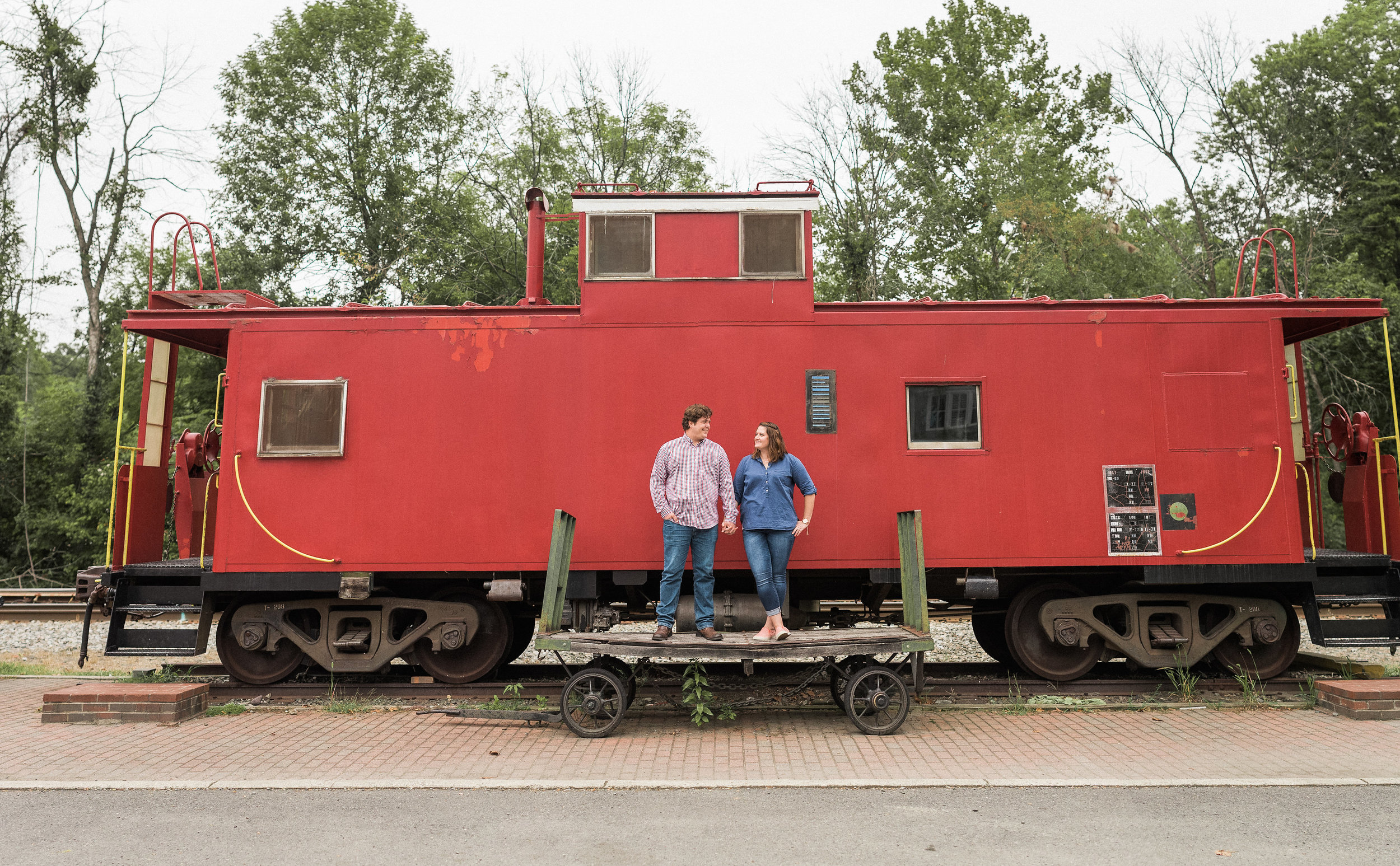 Couple standing on train platform