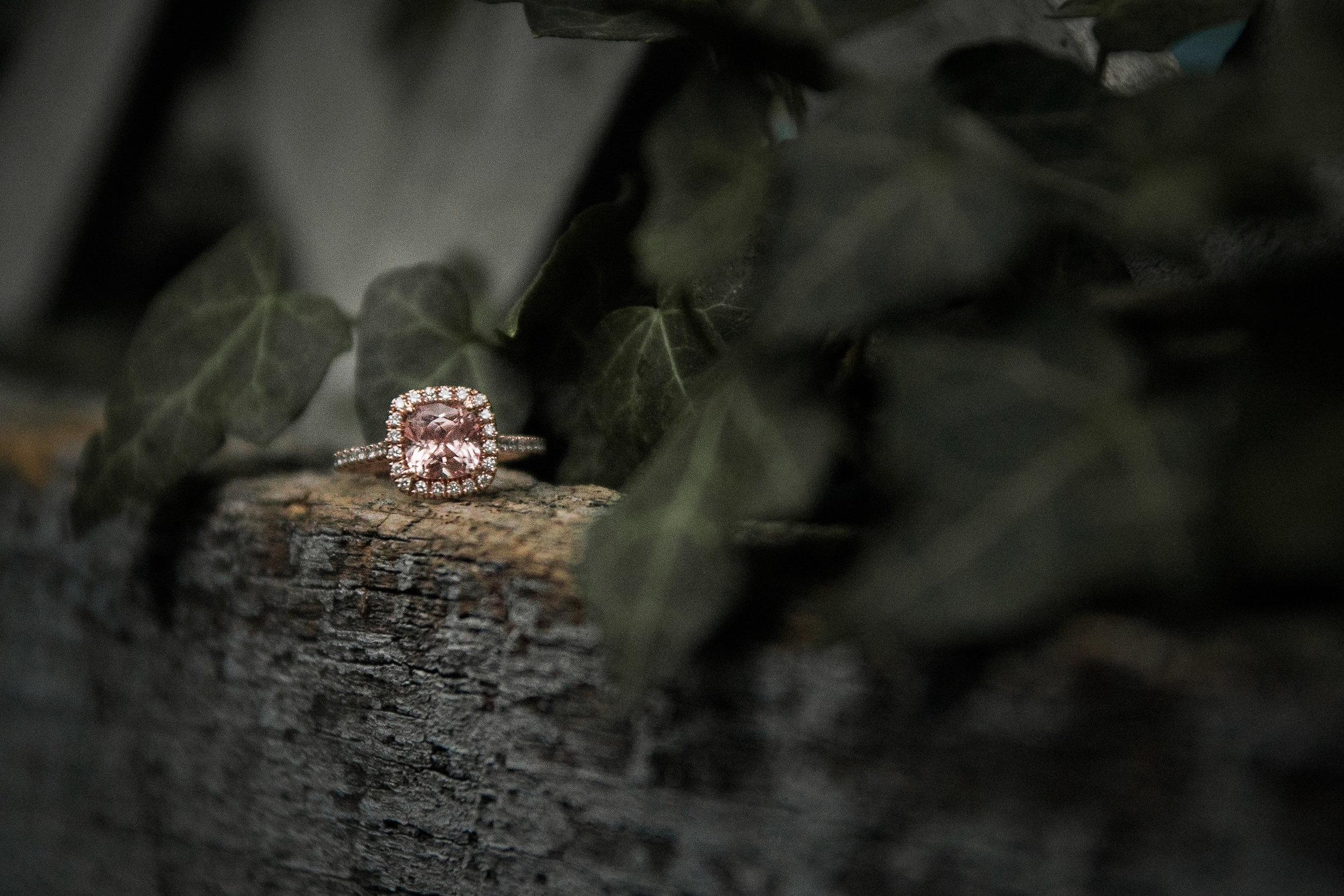 Engagement ring with ivy
