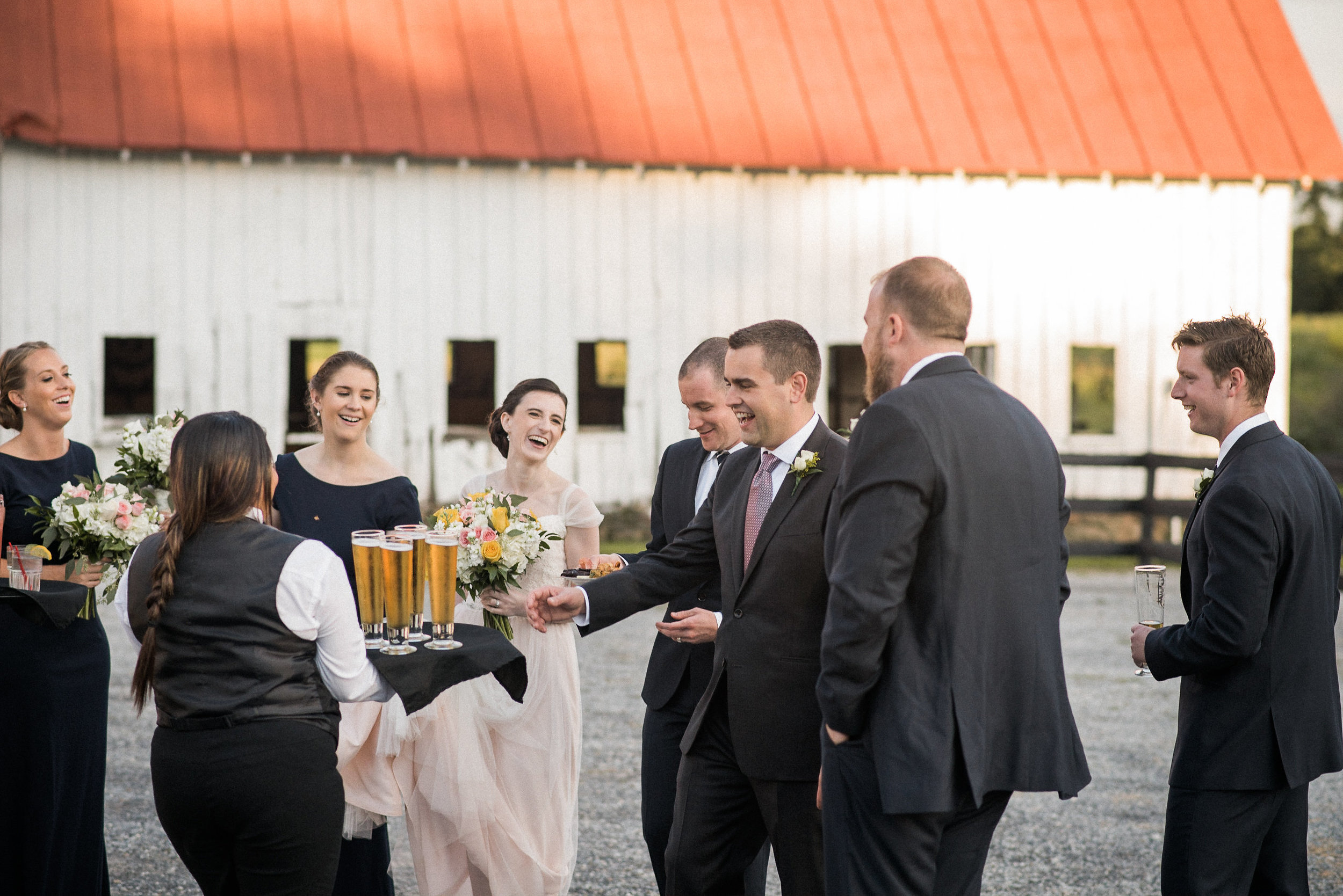 Bridal party having beers
