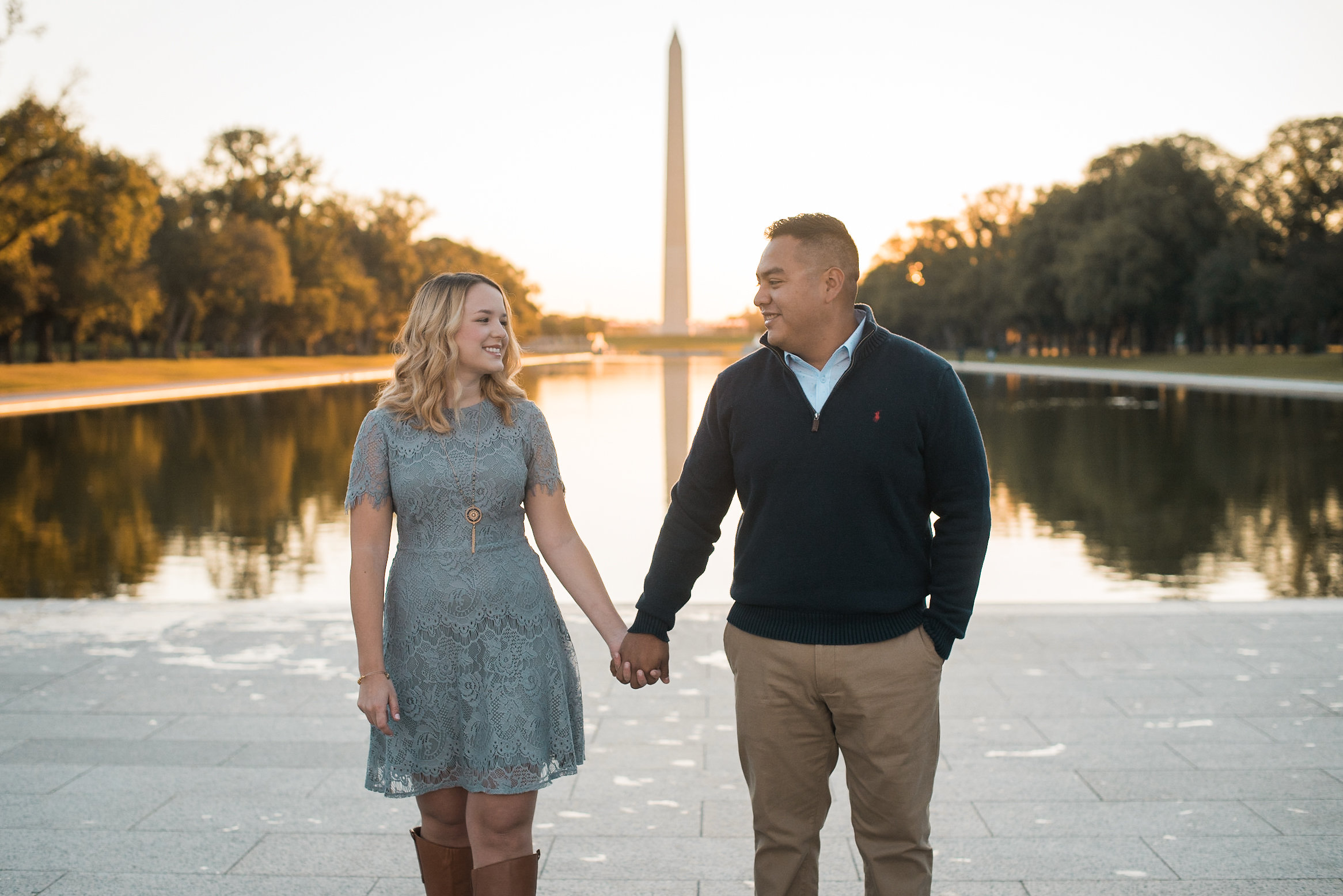 Couple in front of reflecting pool