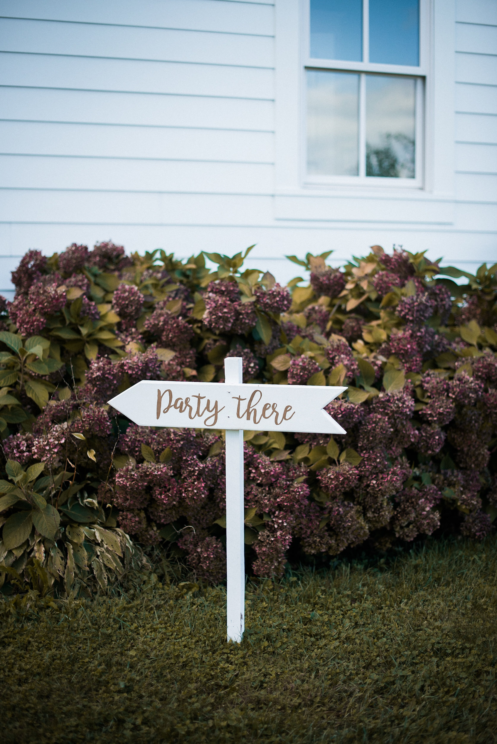 Wedding sign in front of house