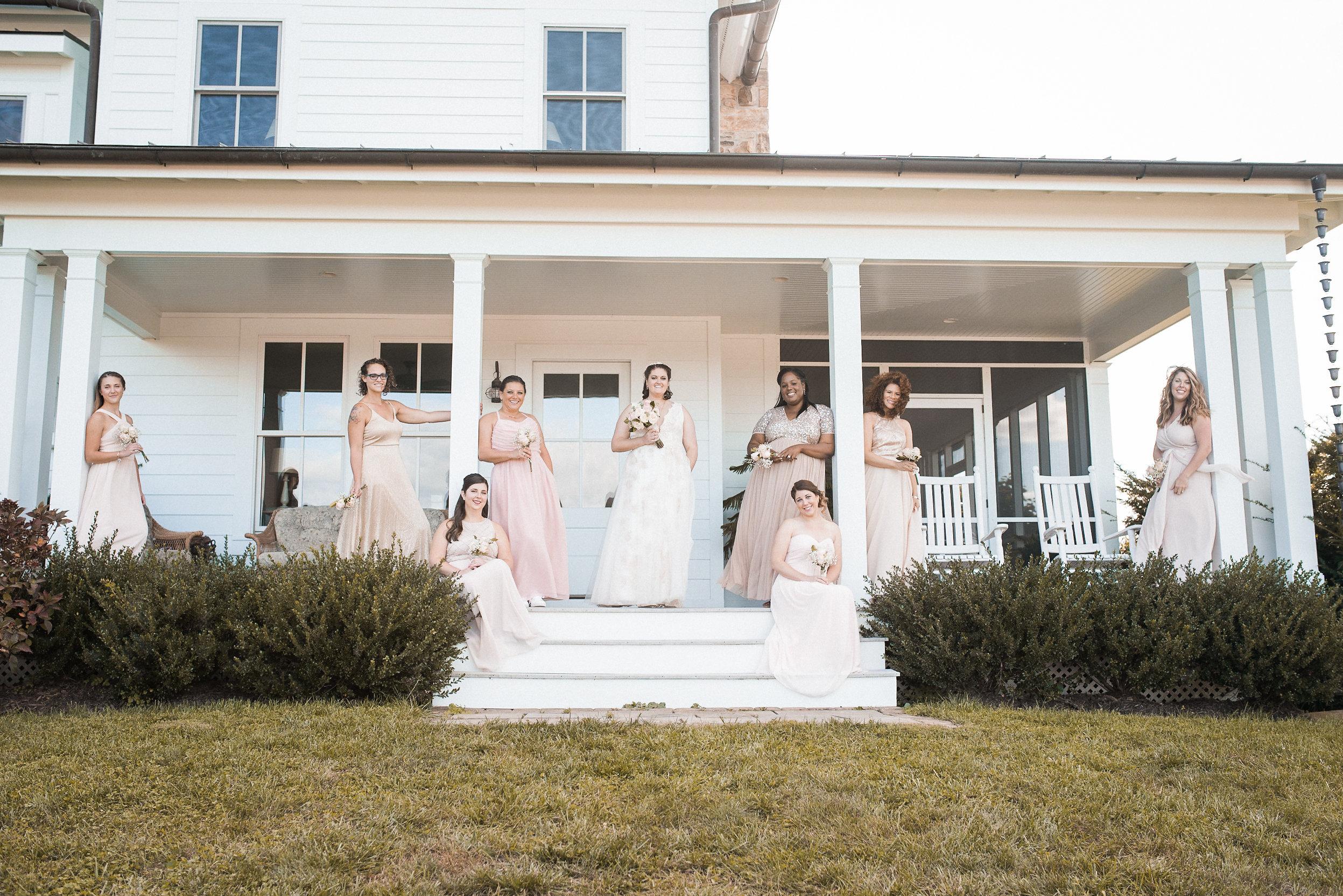 Bridal party posing on porch