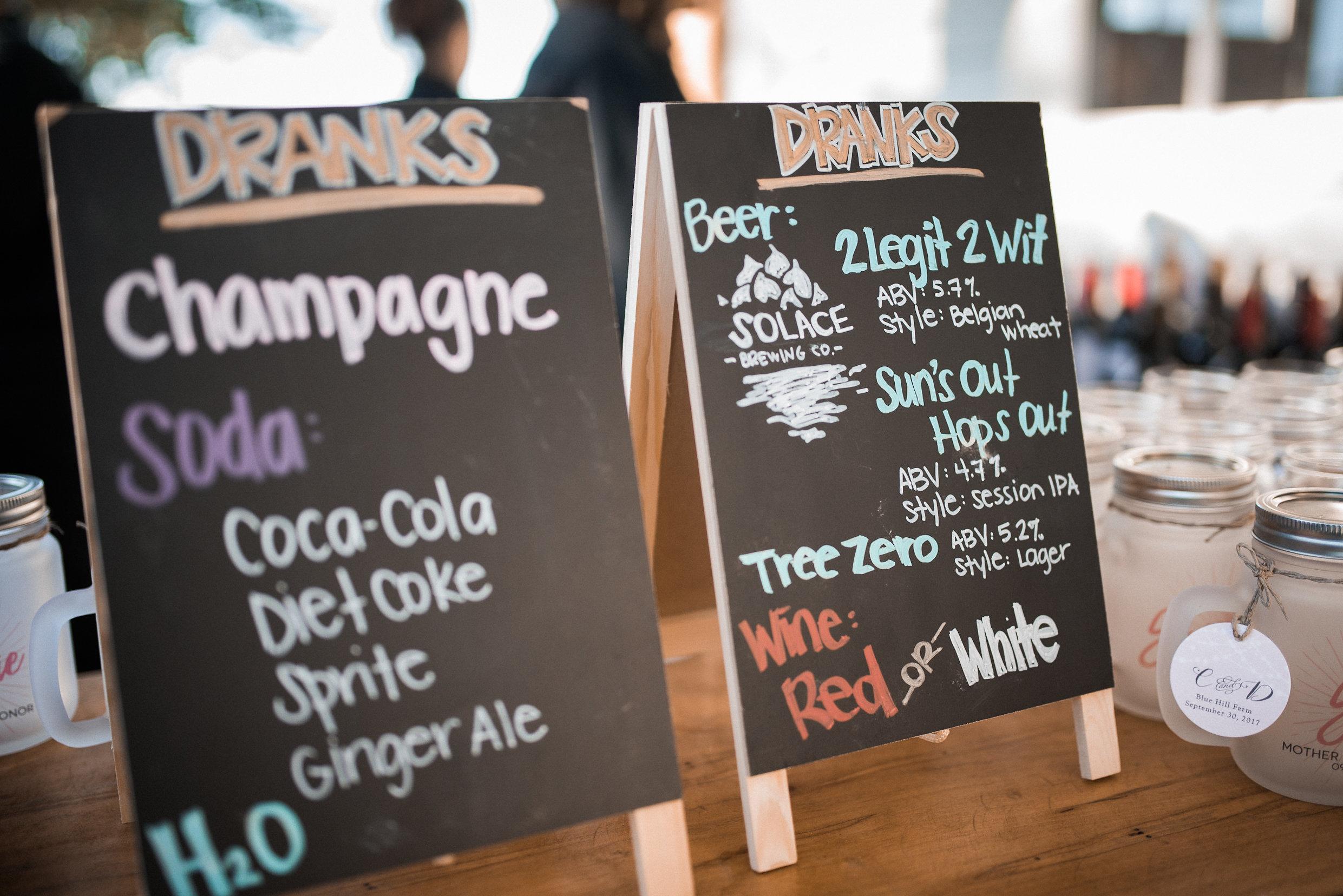 Bar signs at reception