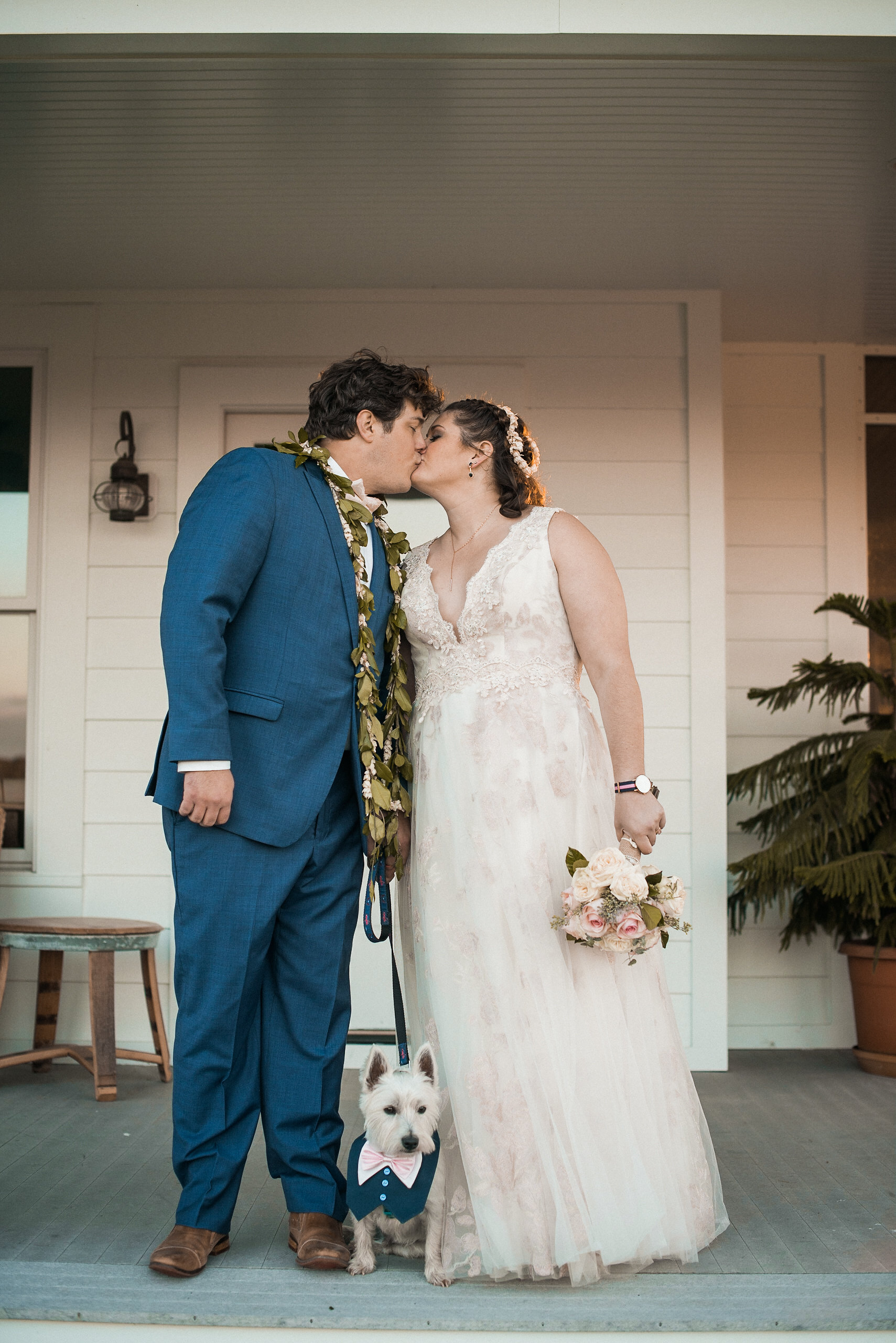 Bride and groom kissing with dog between