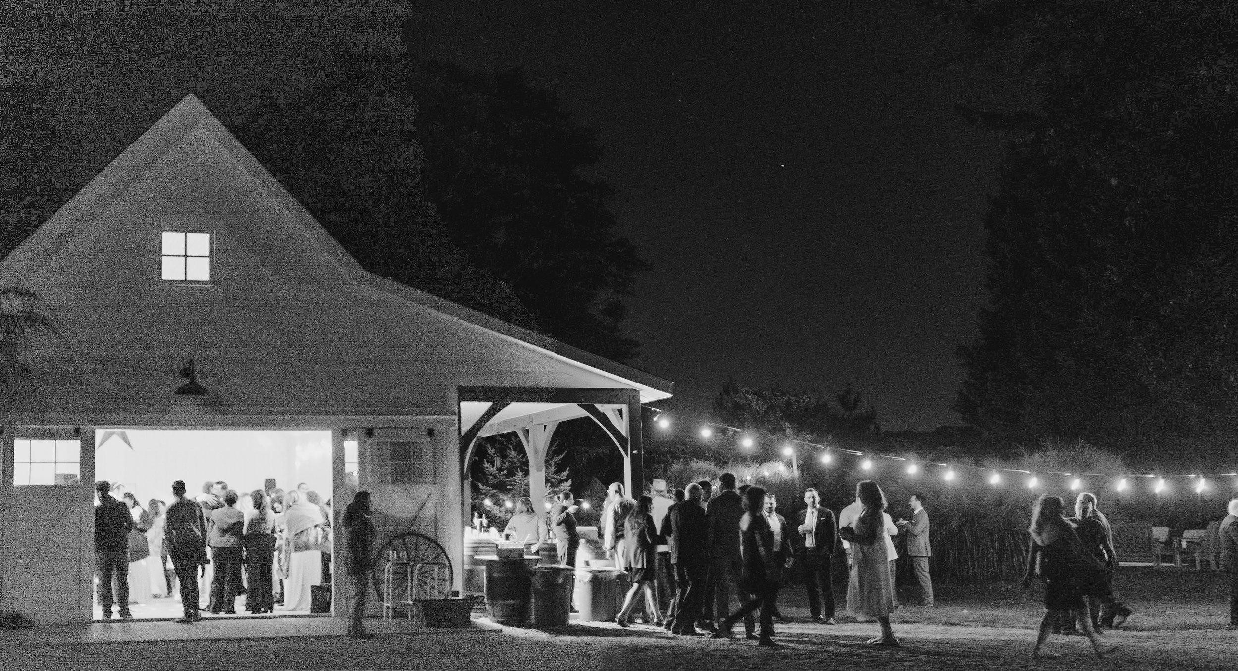 Reception venue in the dark