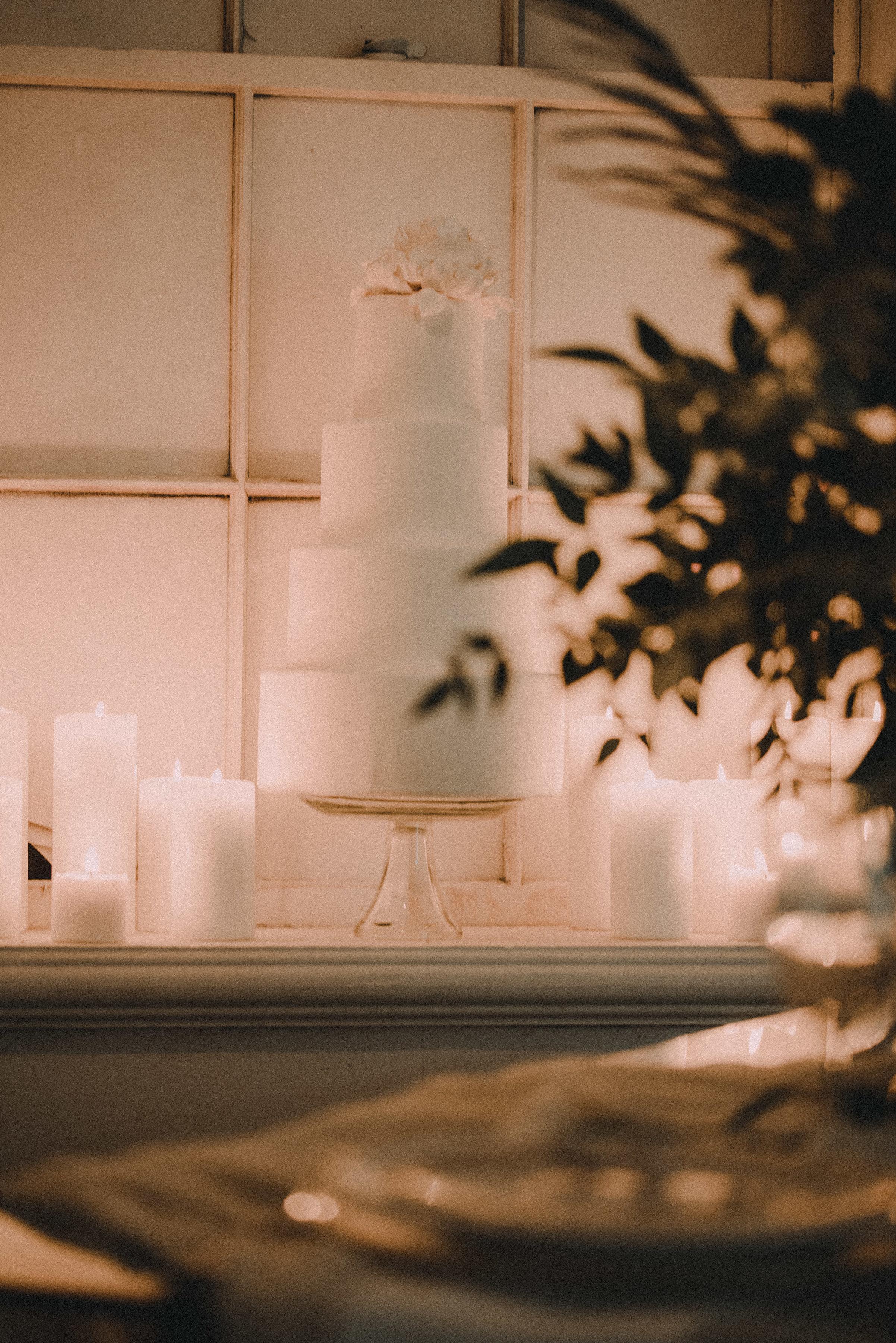 Wedding cake in window
