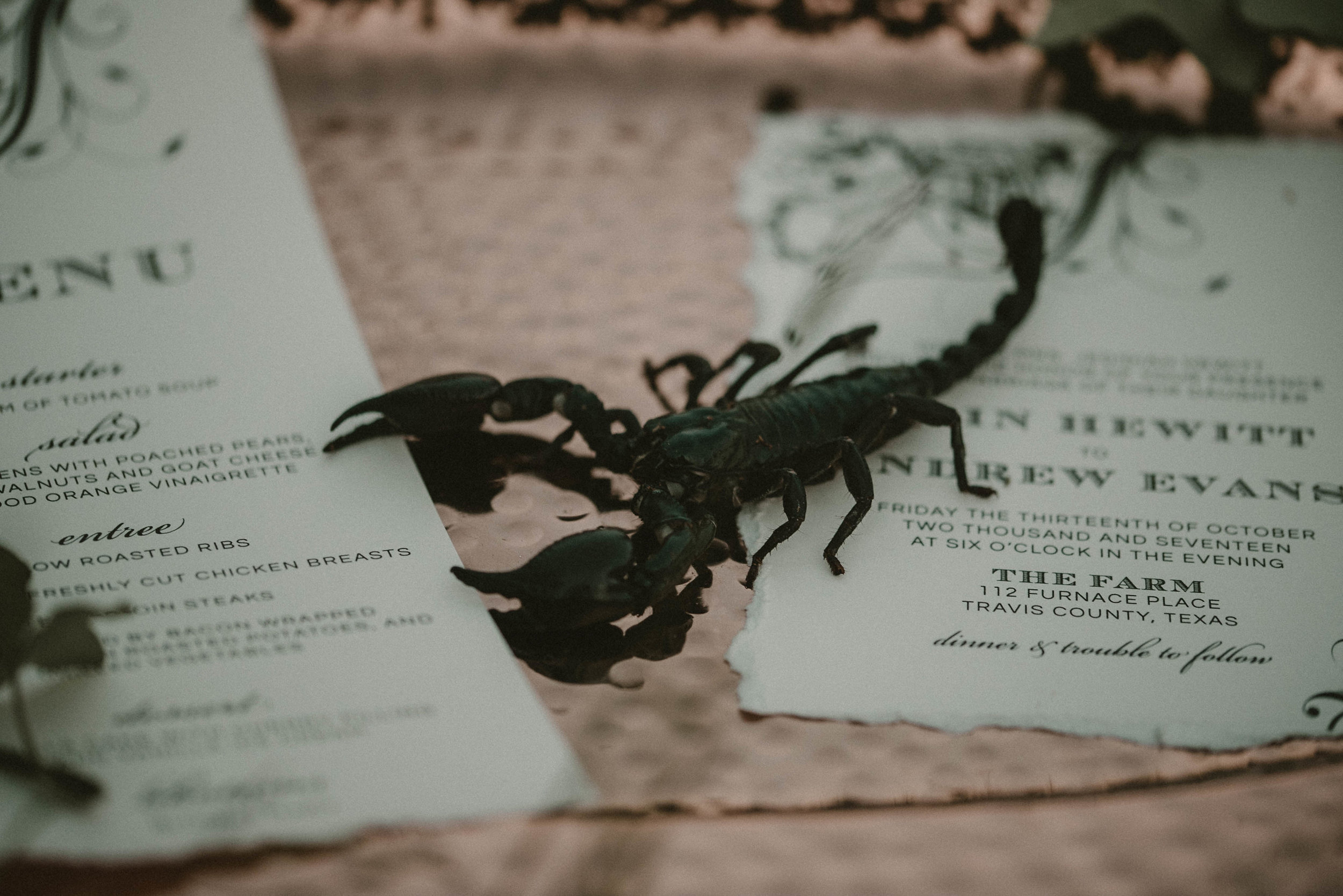Scorpion on wedding menu