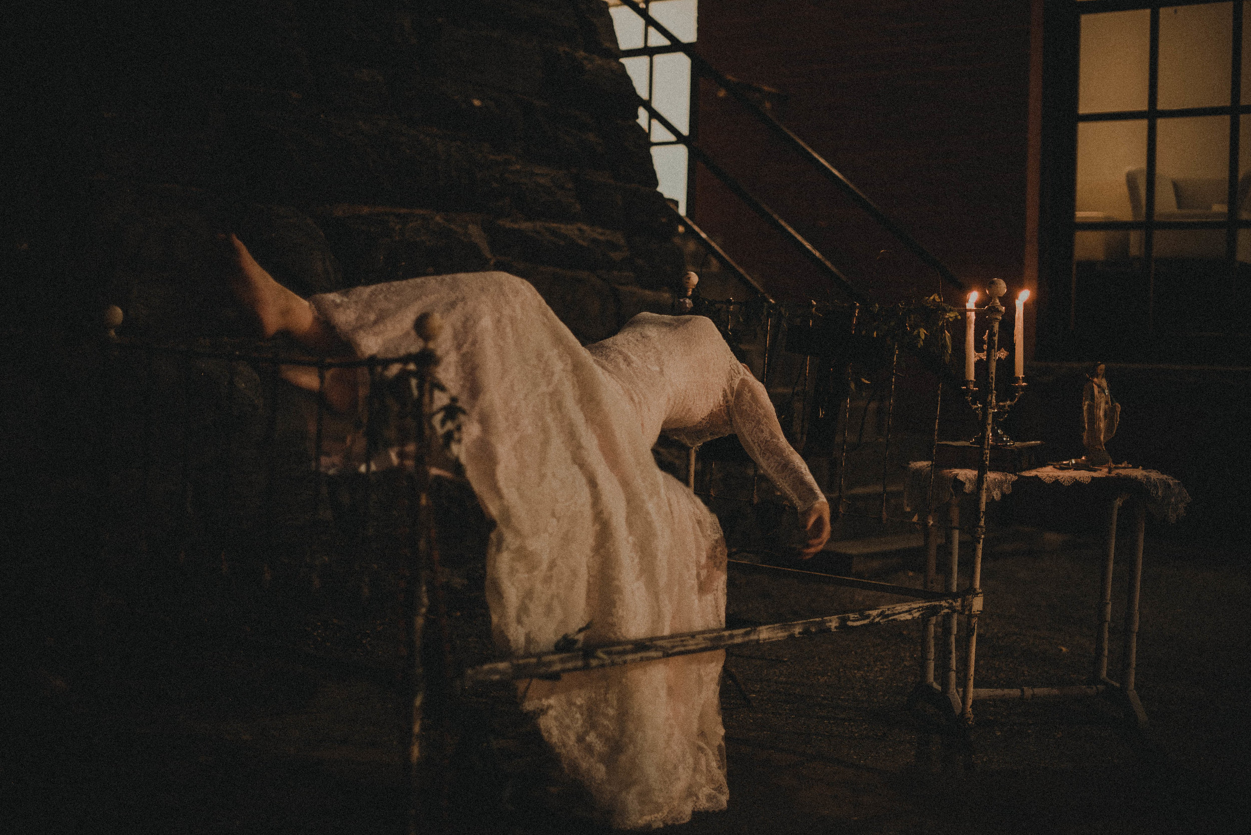 Bride levitating on bed