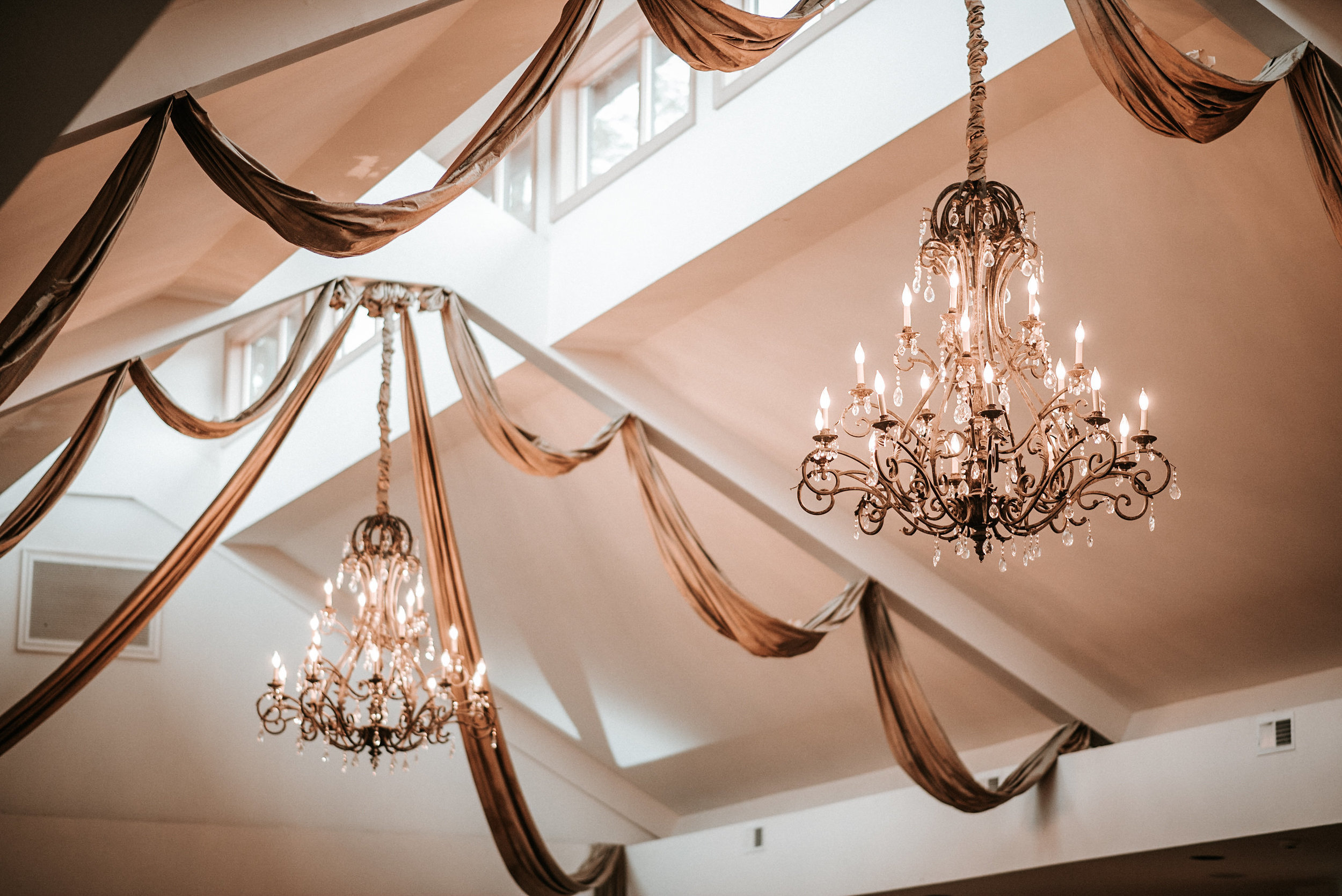 Chandeliers in ceremony space
