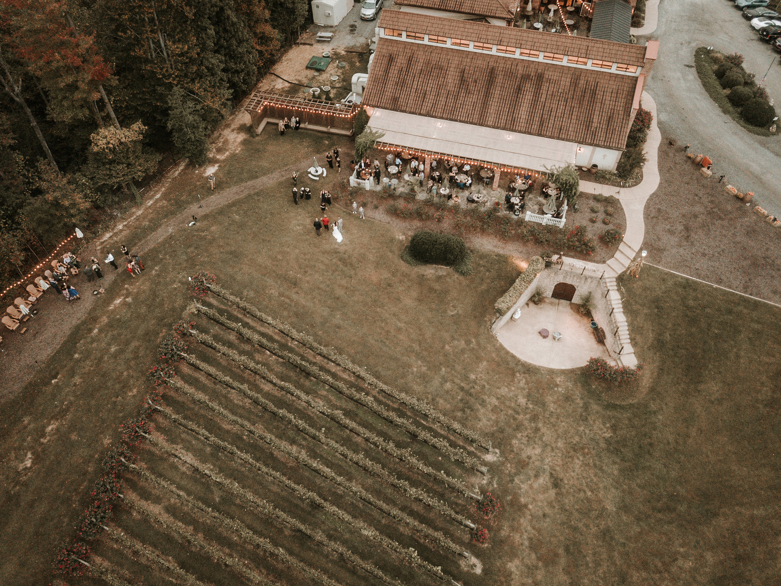 Drone shot of wedding