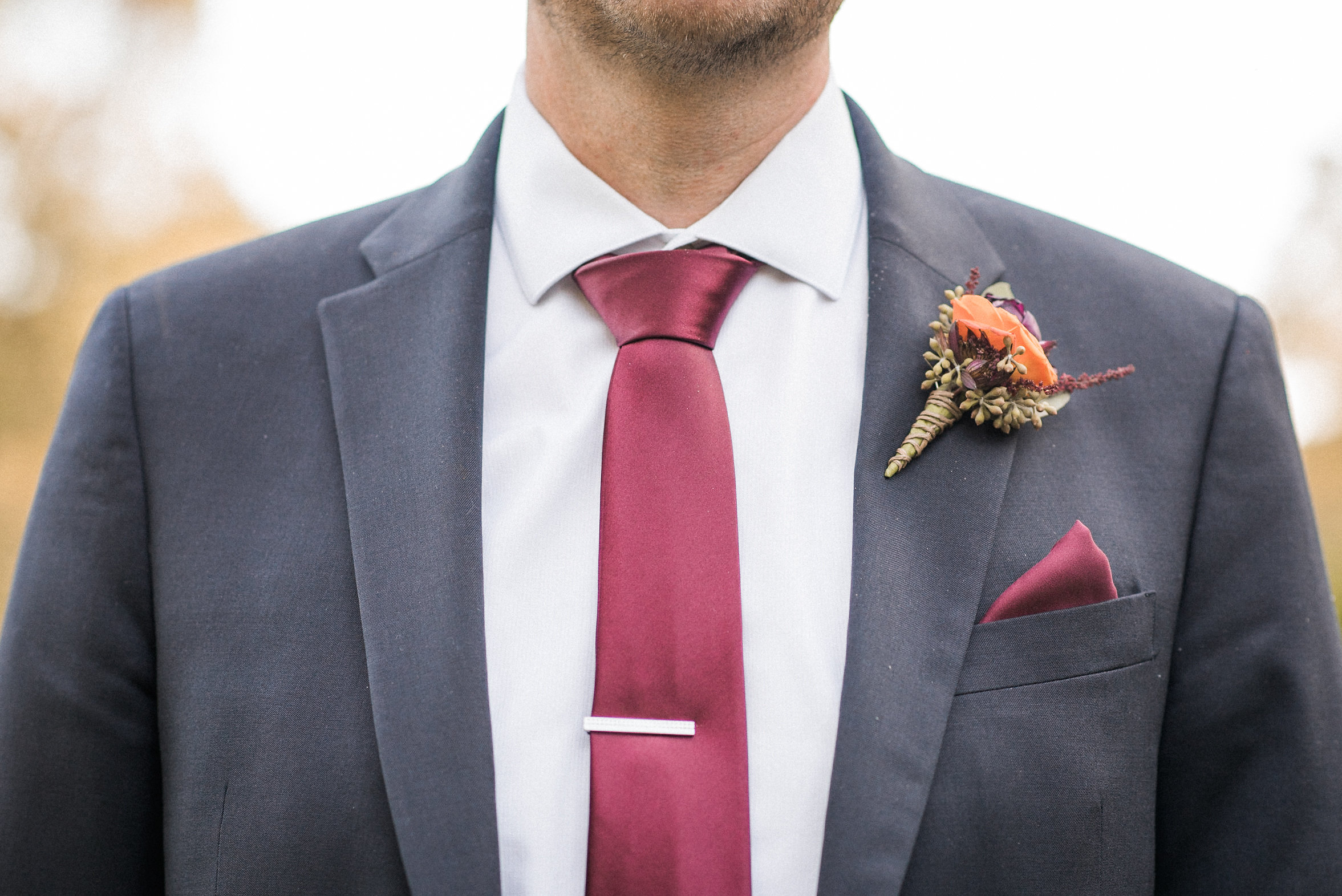 Closeup of groom's tie